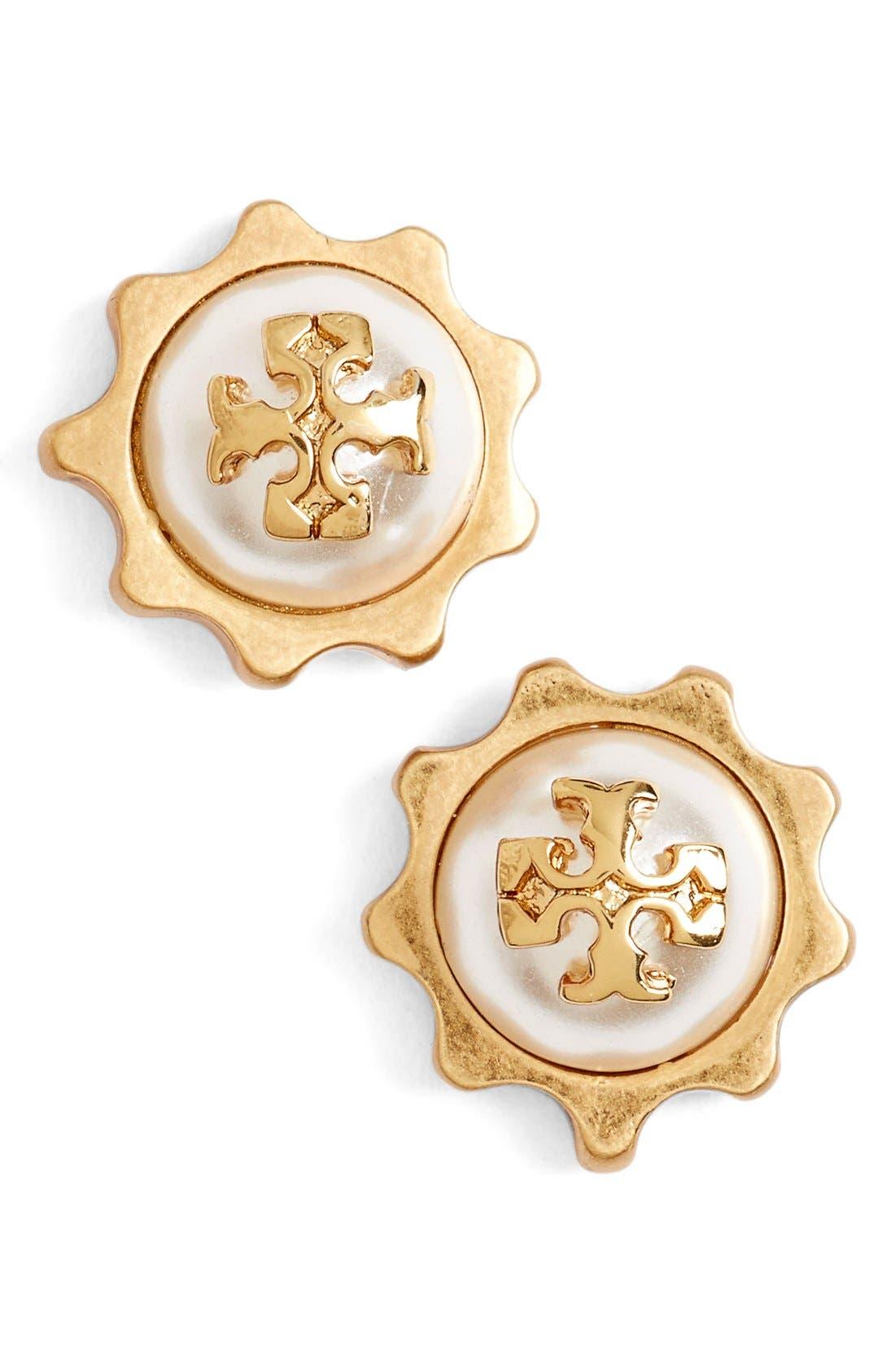 Main Image - Tory Burch Logo Faux Pearl Gear Stud Earrings
