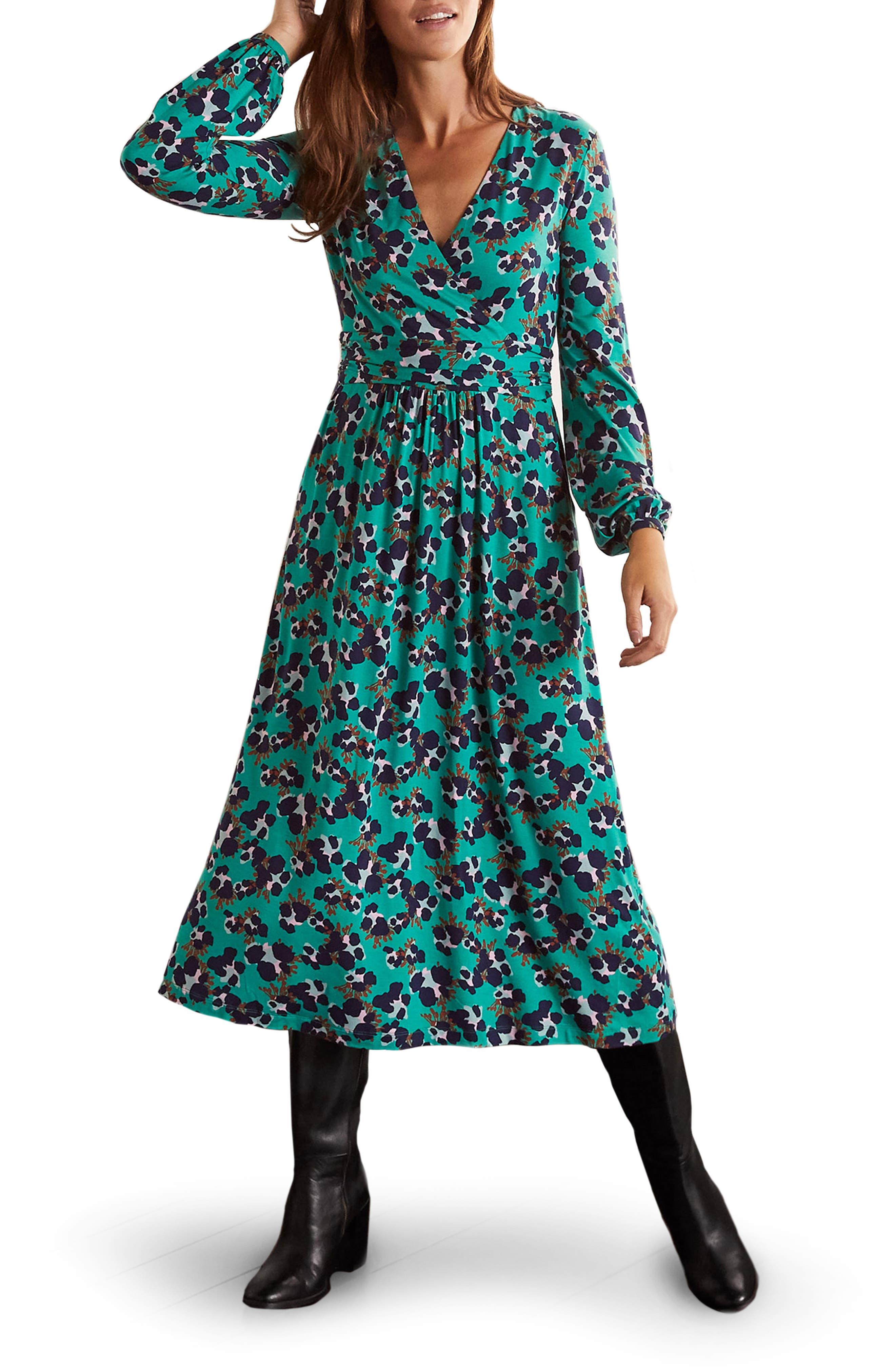 NEW BODEN ORANGE RED GREEN FLORAL VINTAGE  COTTON TEA DRESS  6 8 10 12 14 16