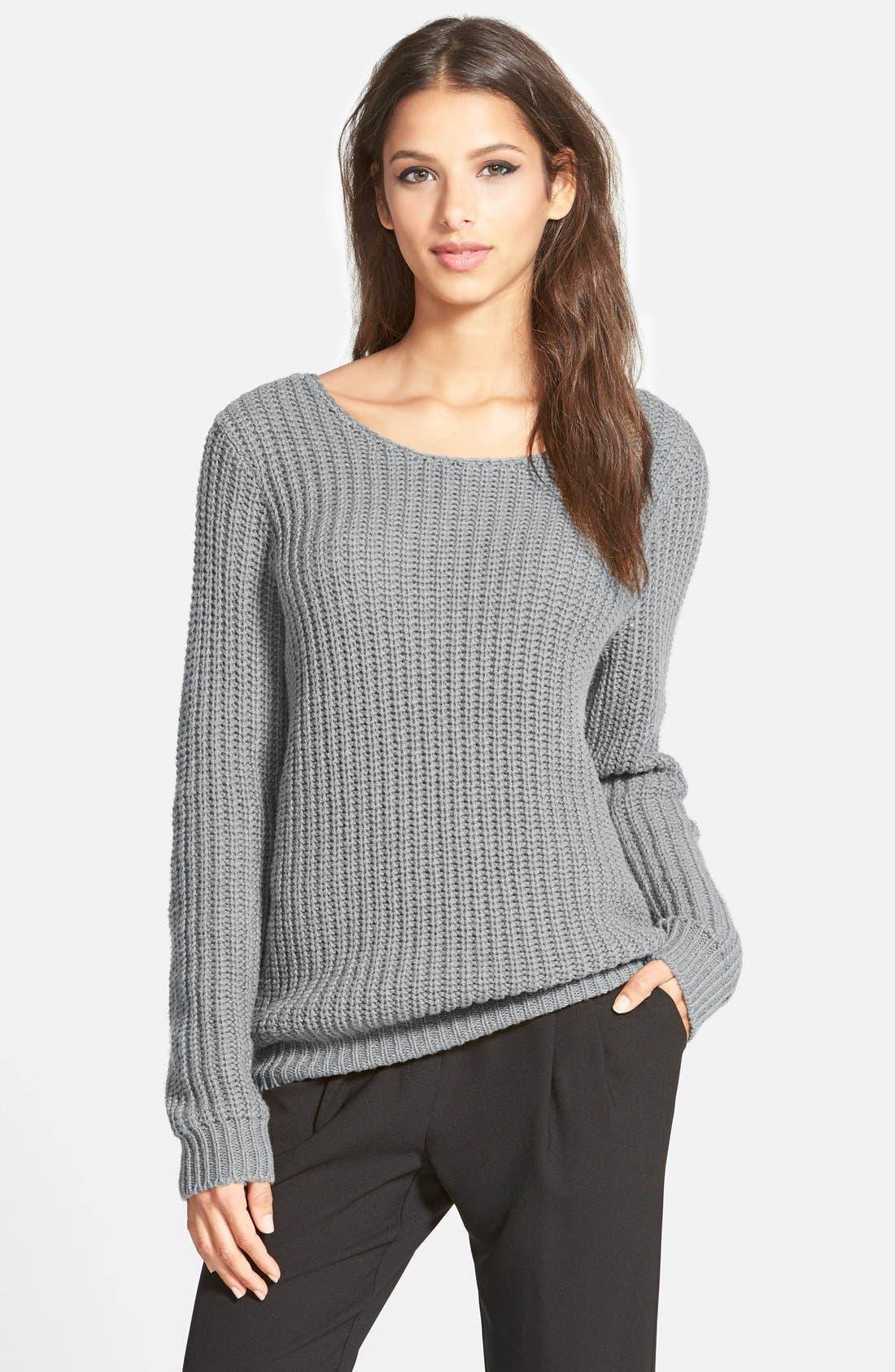 Alternate Image 2  - Leith Shaker Stitch V-Back Sweater