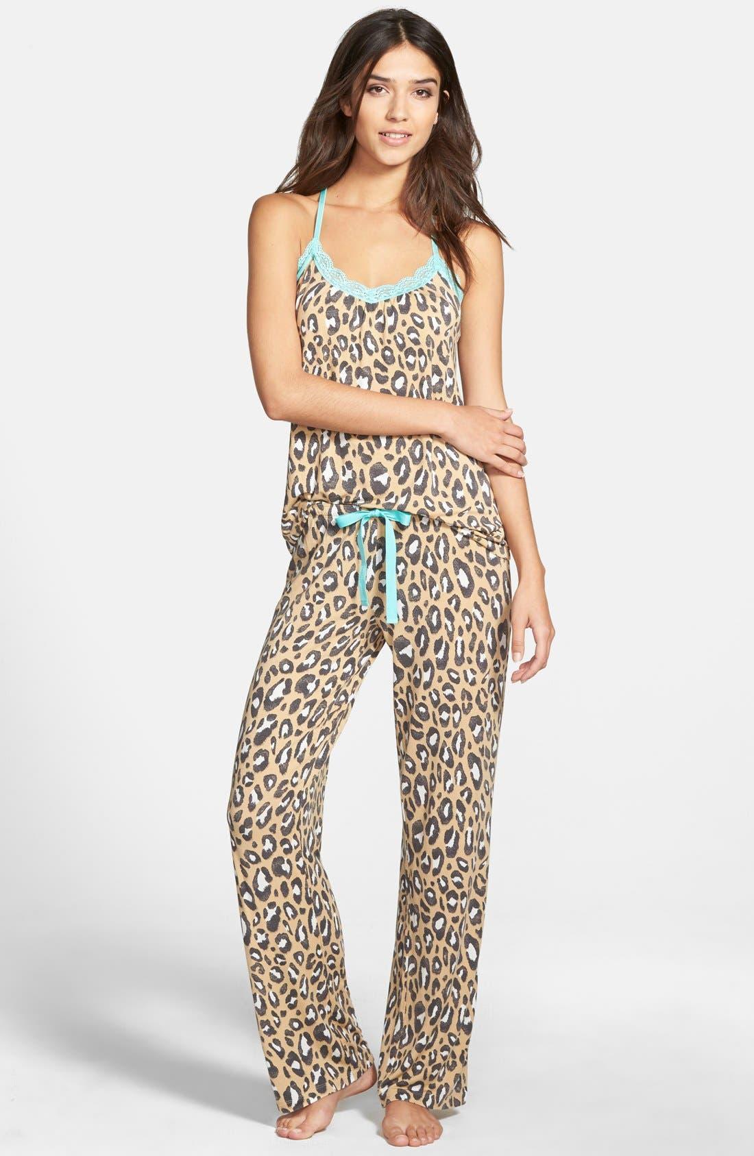 Main Image - PJ Salvage Lace Trim Print Jersey Pajamas (Nordstrom Exclusive)