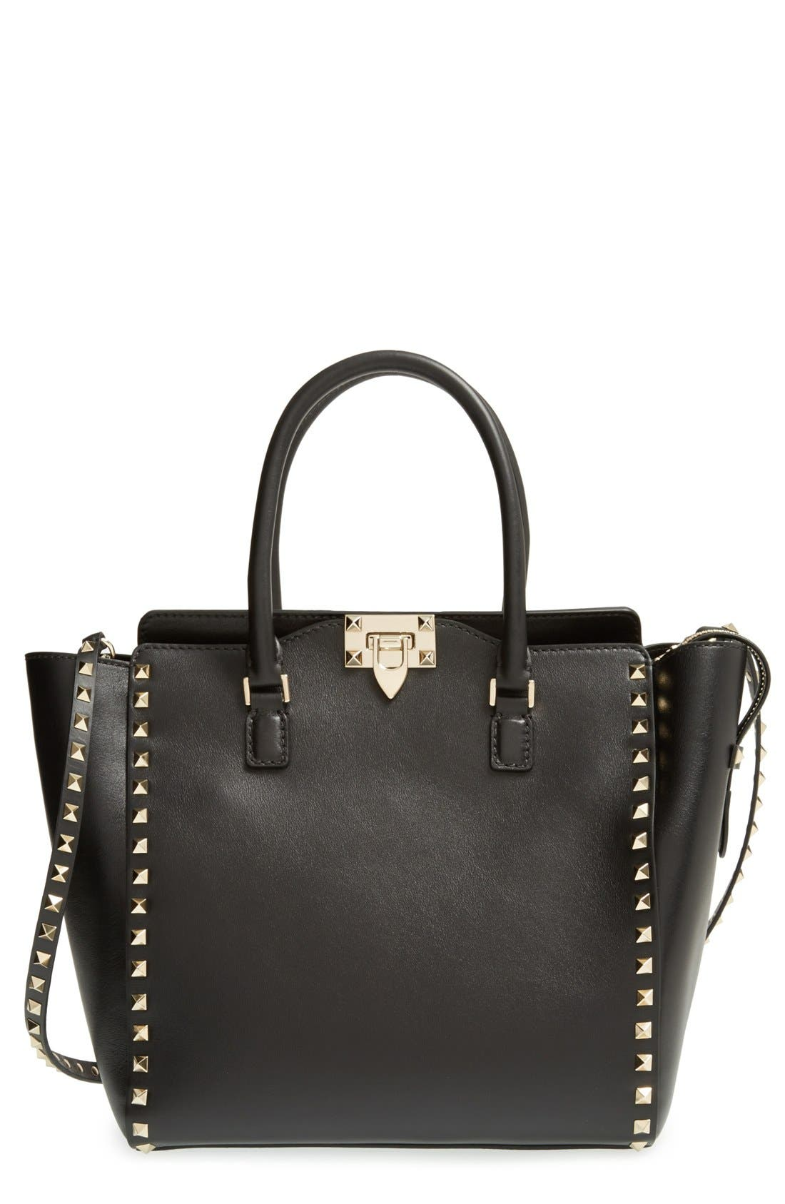 VALENTINO GARAVANI Rockstud Leather Double Handle Tote