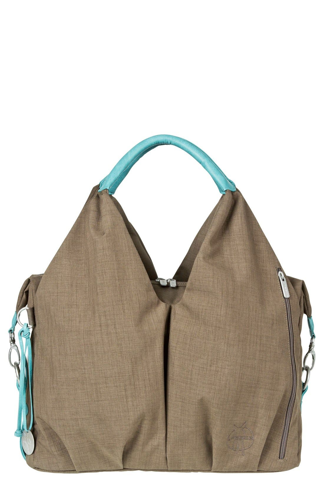 'Green Label - Neckline' Diaper Bag,                             Main thumbnail 1, color,                             Teal/ Brown