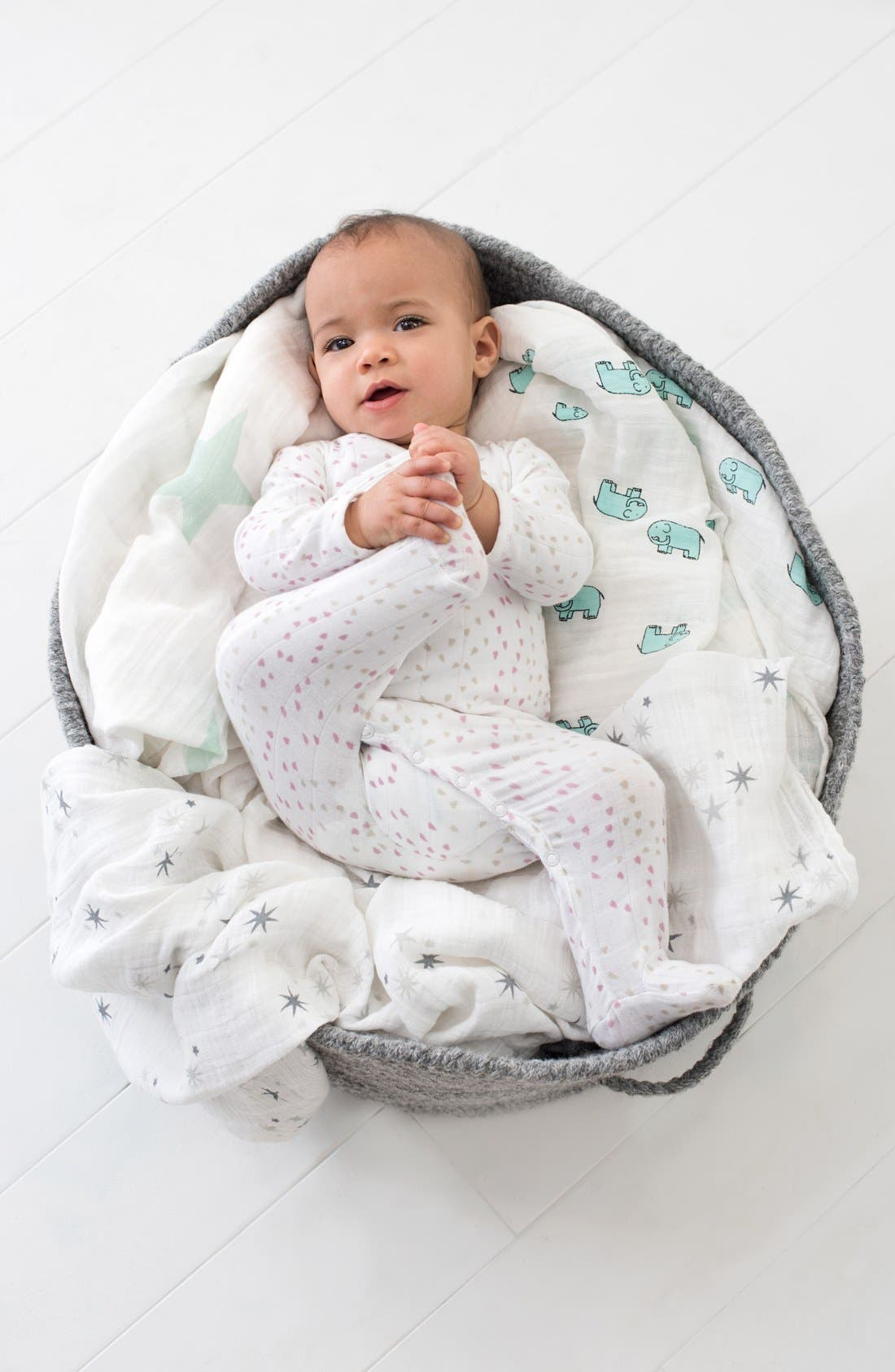 Alternate Image 2  - aden + anais Long Sleeve Kimono Footie (Baby Girls)