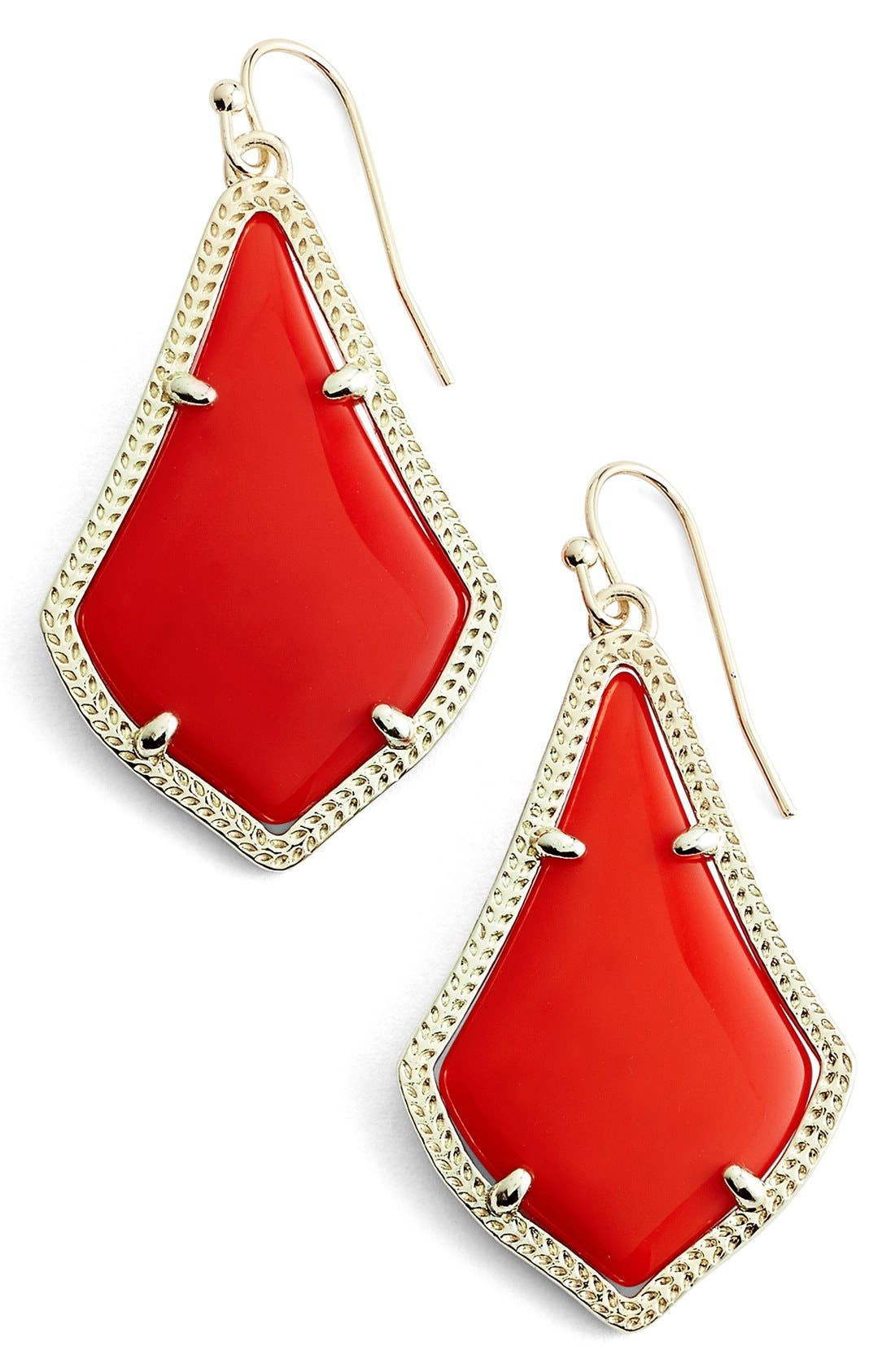 Alex Drop Earrings,                             Main thumbnail 1, color,                             Bright Red Opaque Glass/ Gold