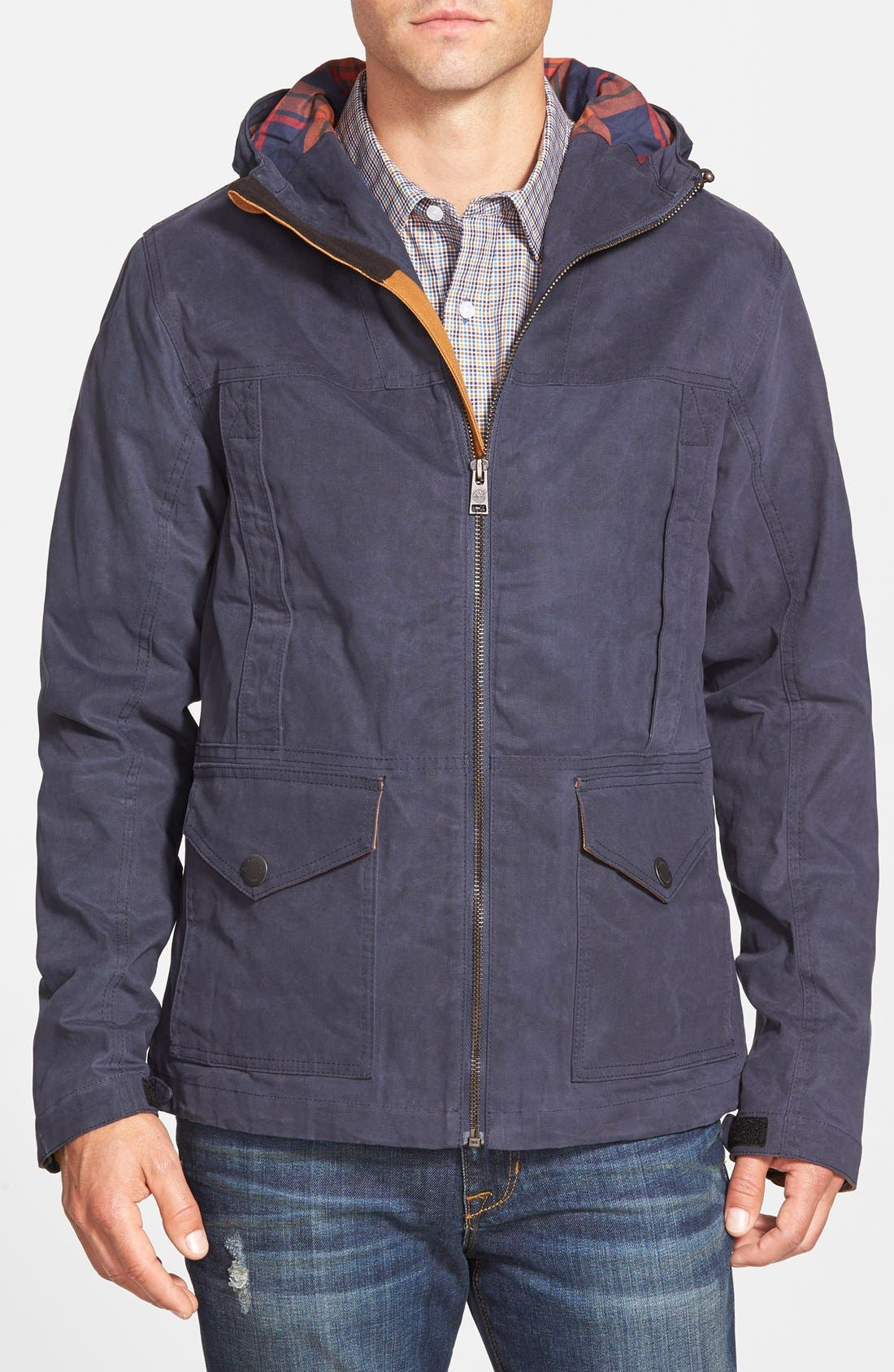 Main Image - Timberland 'Mount Davis' Waxed Cotton Hooded Jacket