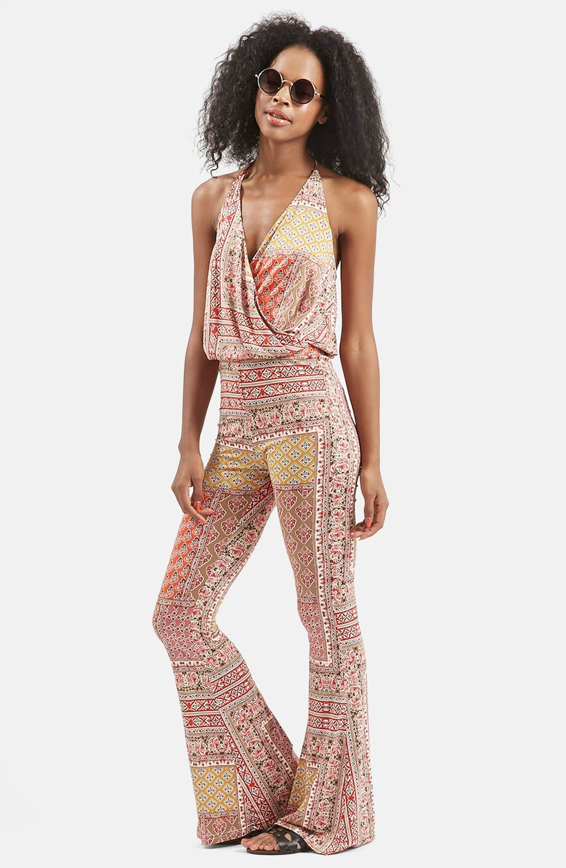 Alternate Image 1 Selected - Topshop 'All in 1' Scarf Print Flare Jumpsuit