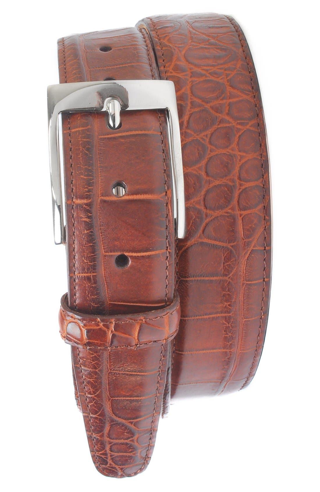 Martin Dingman 'Wellington' Matte Finish Genuine Alligator Leather Belt