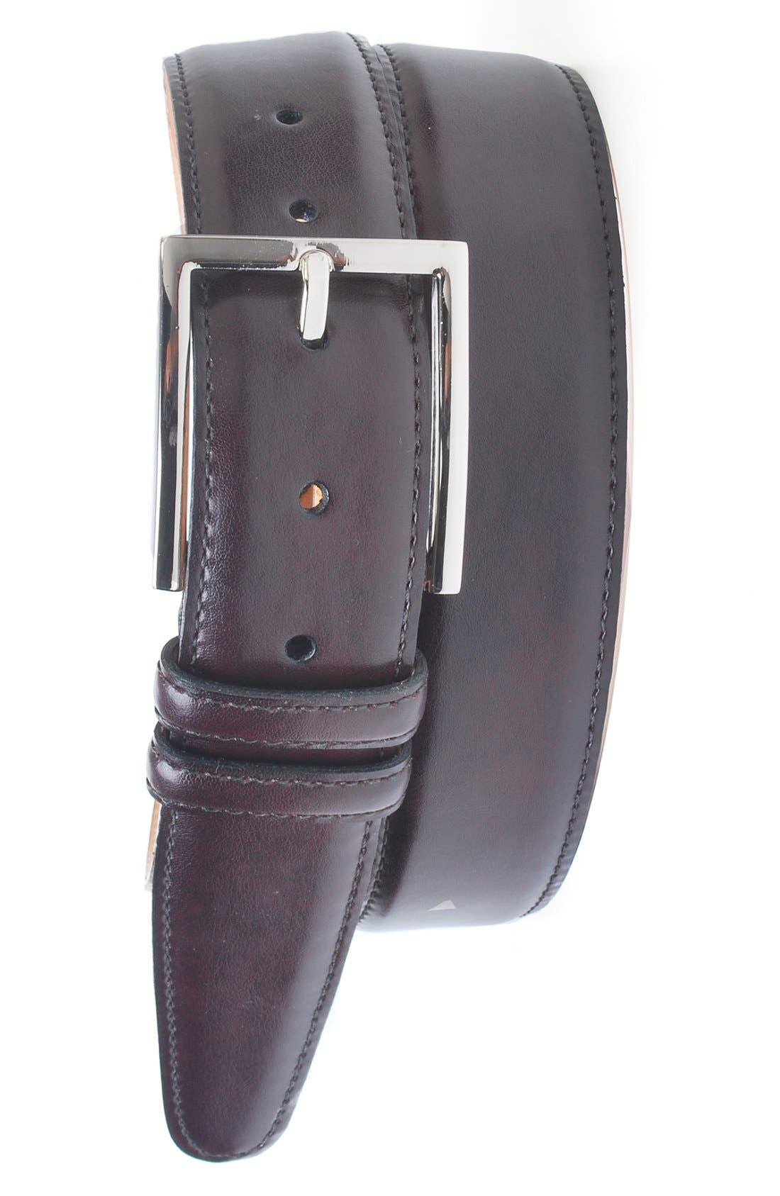 'Samuel' Leather Belt,                             Main thumbnail 1, color,                             Burgundy