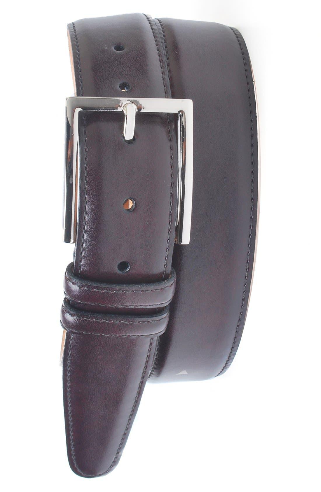 'Samuel' Leather Belt,                         Main,                         color, Burgundy