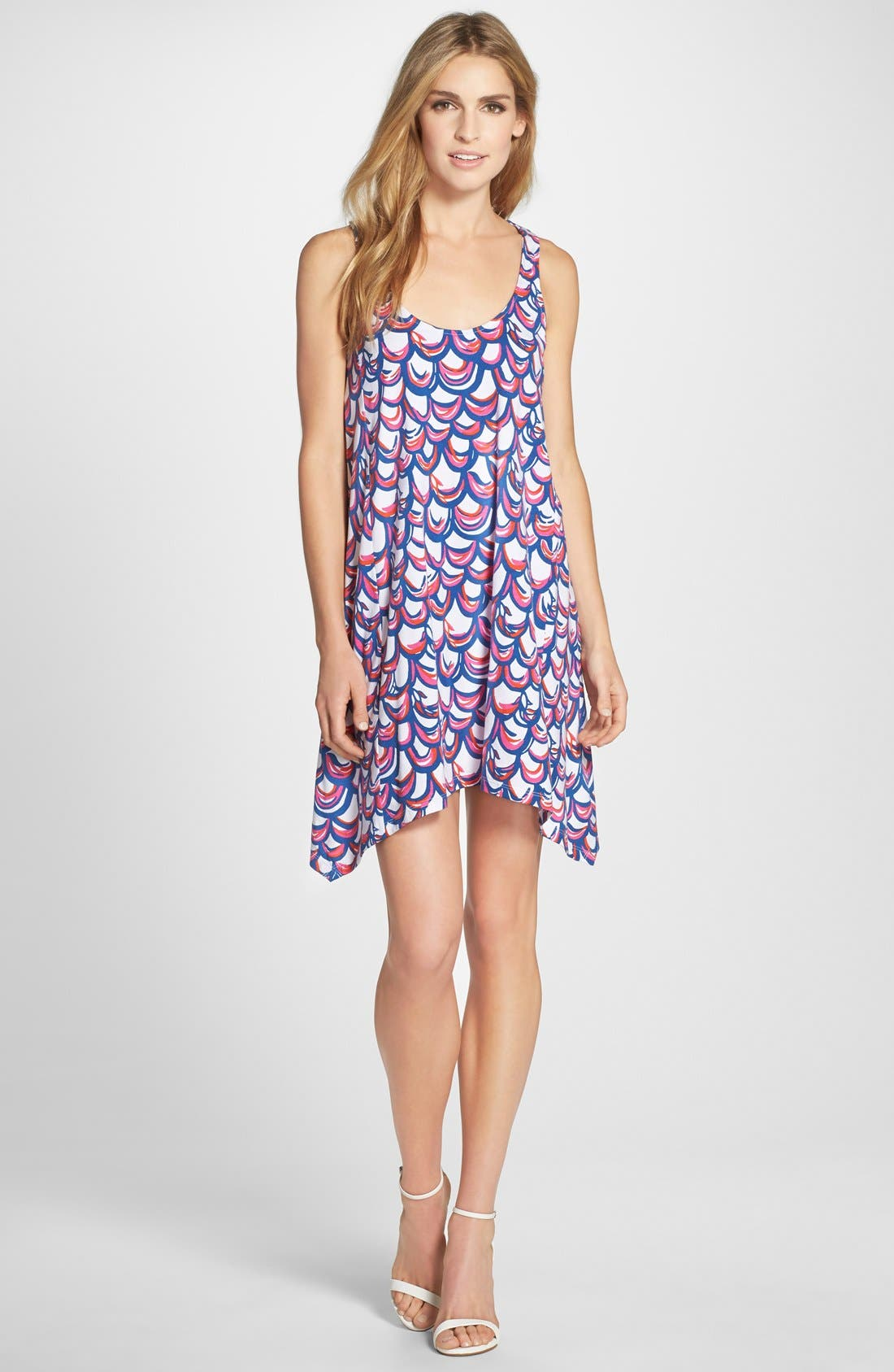 'Monterey' Print Cotton Cutout Trapeze Dress,                             Alternate thumbnail 3, color,                             Resort White