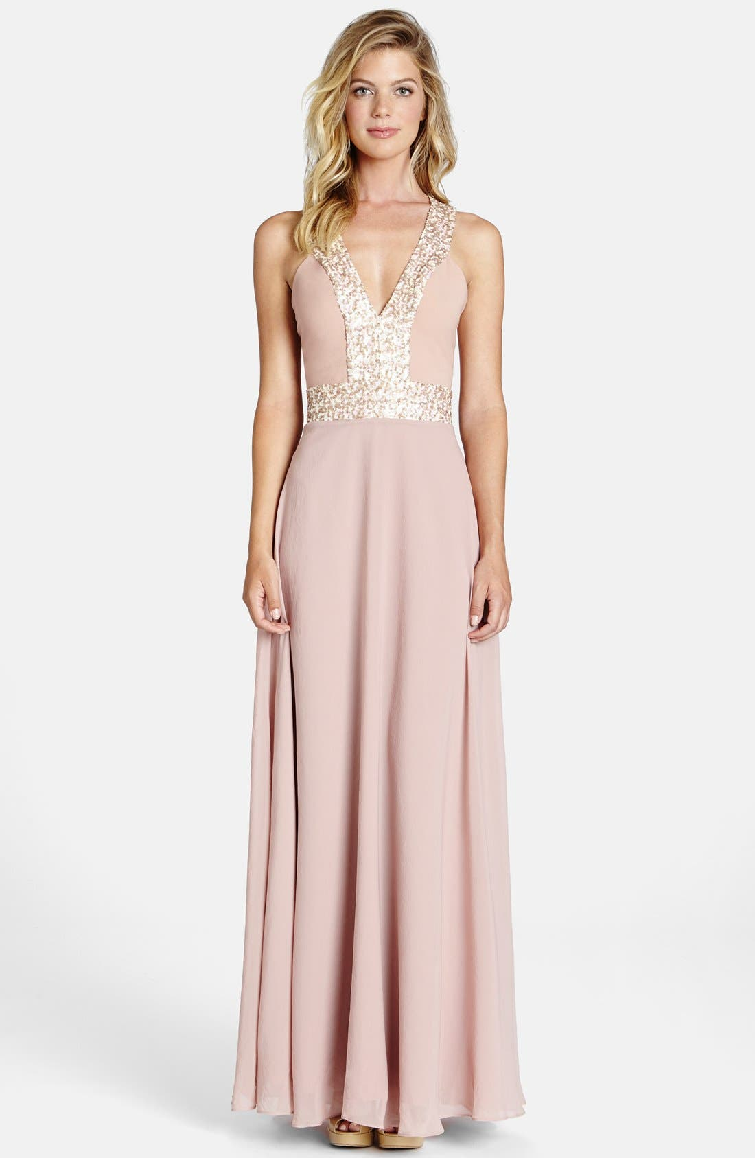 Alternate Image 1 Selected - Dress the Population Delani Crepe Gown