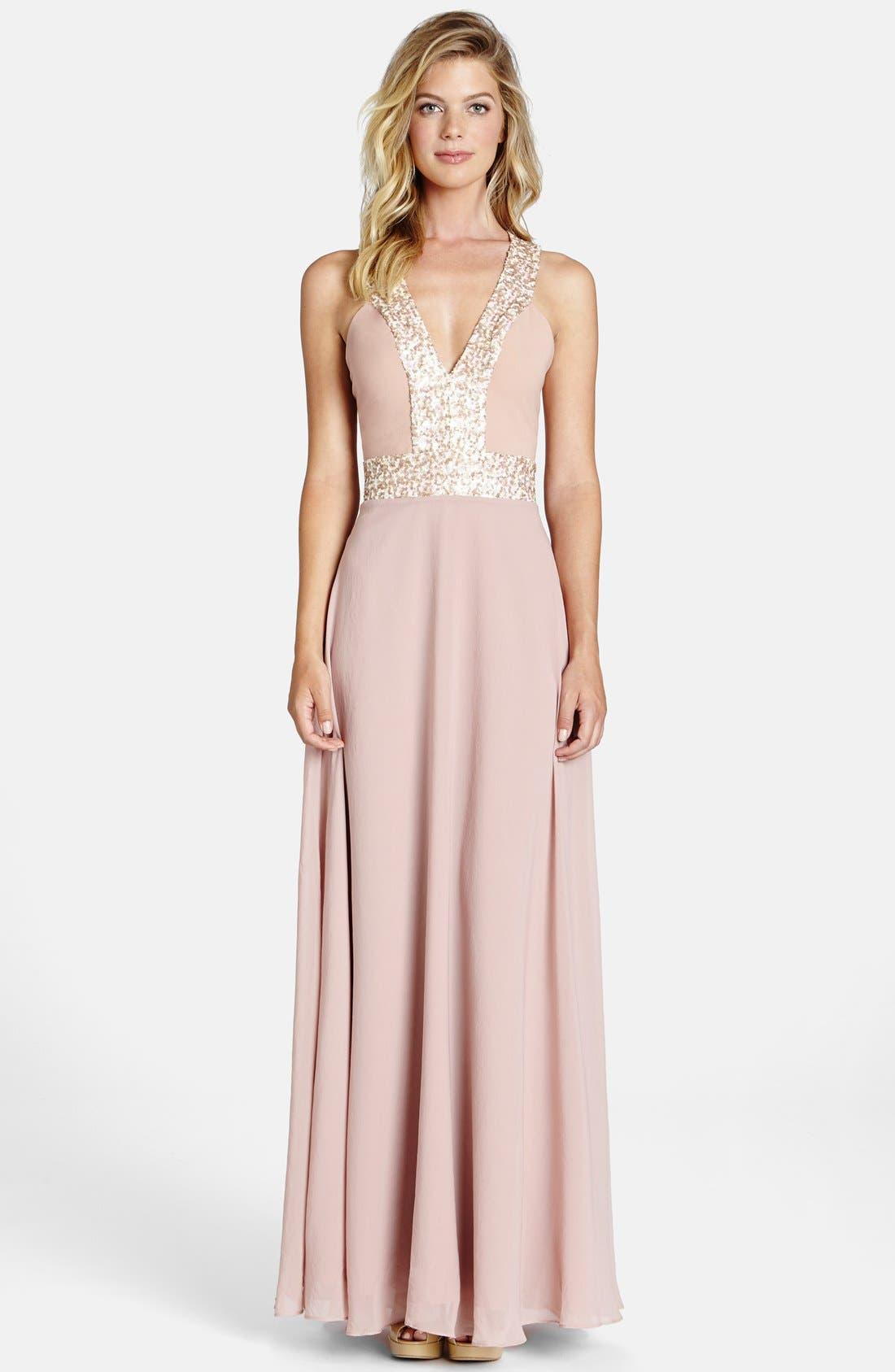 Delani Crepe Gown,                         Main,                         color, Rose Pink/ Opal