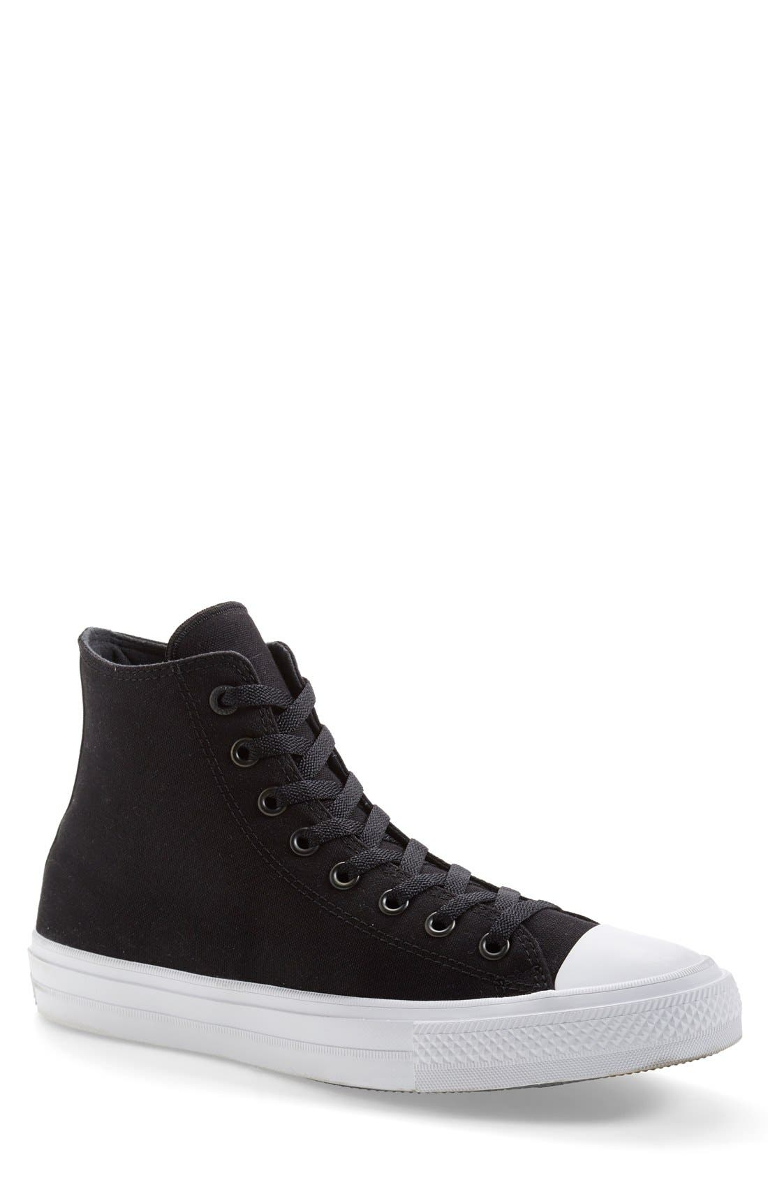 Chuck Taylor<sup>®</sup> All Star<sup>®</sup> Chuck II High Top Sneaker,                         Main,                         color, Black/ White/ Navy Canvas