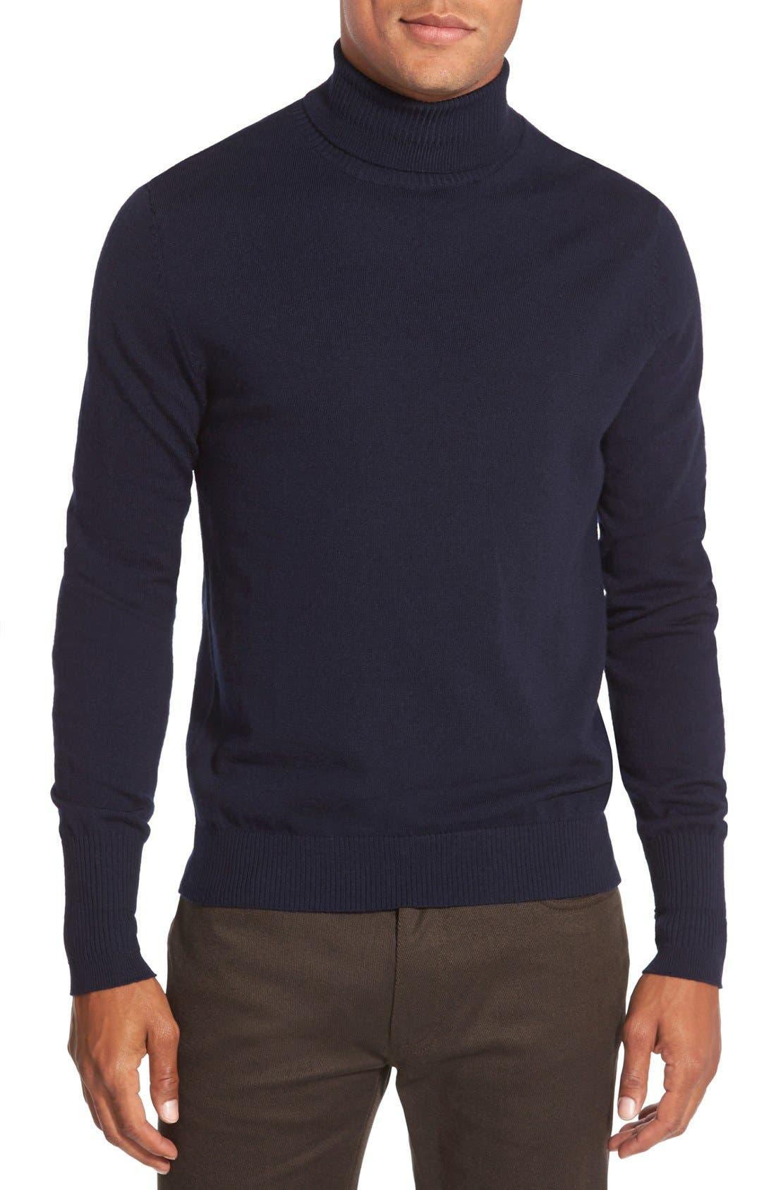 Merino Wool Turtleneck,                         Main,                         color, Navy