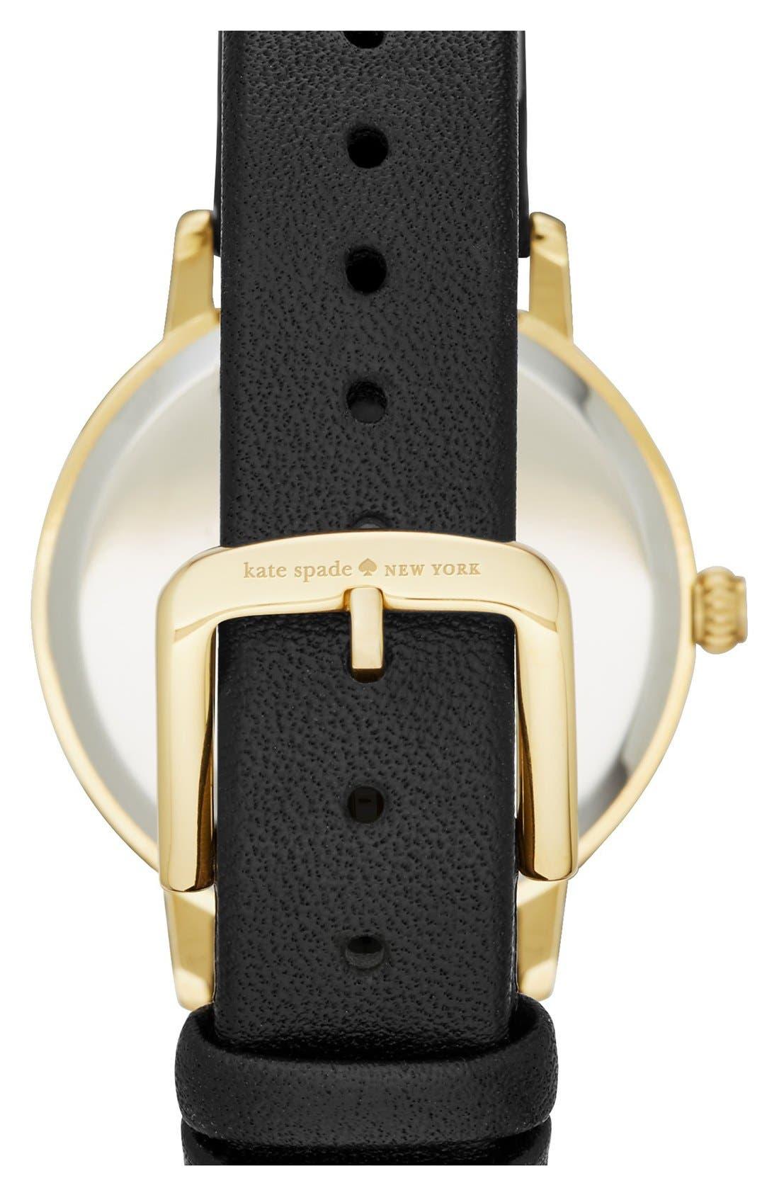 Alternate Image 2  - katespade new york'metro - night owl' leather strap watch, 33mm