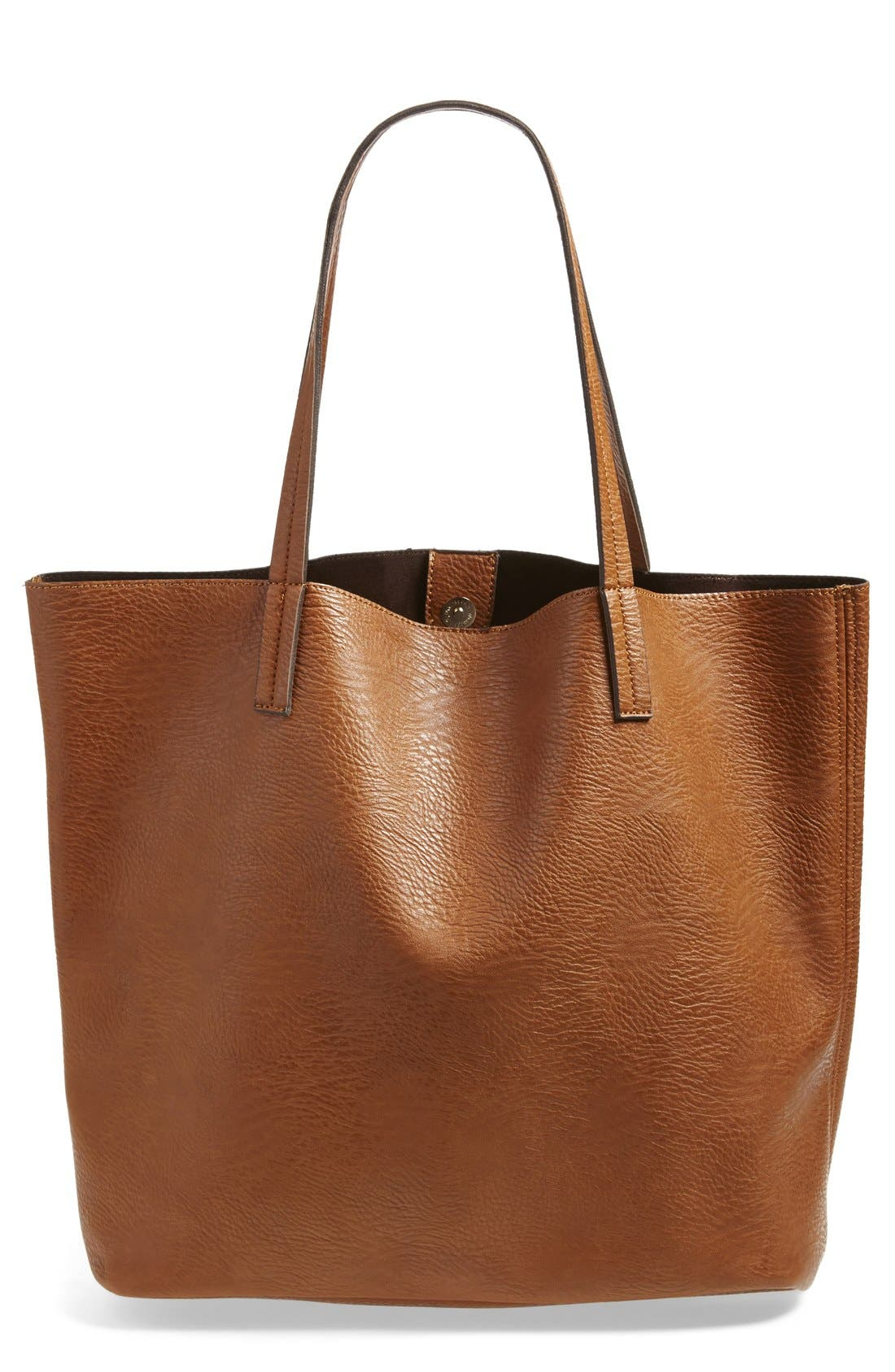 Faux Leather Pocket Tote,                             Alternate thumbnail 3, color,                             Cognac