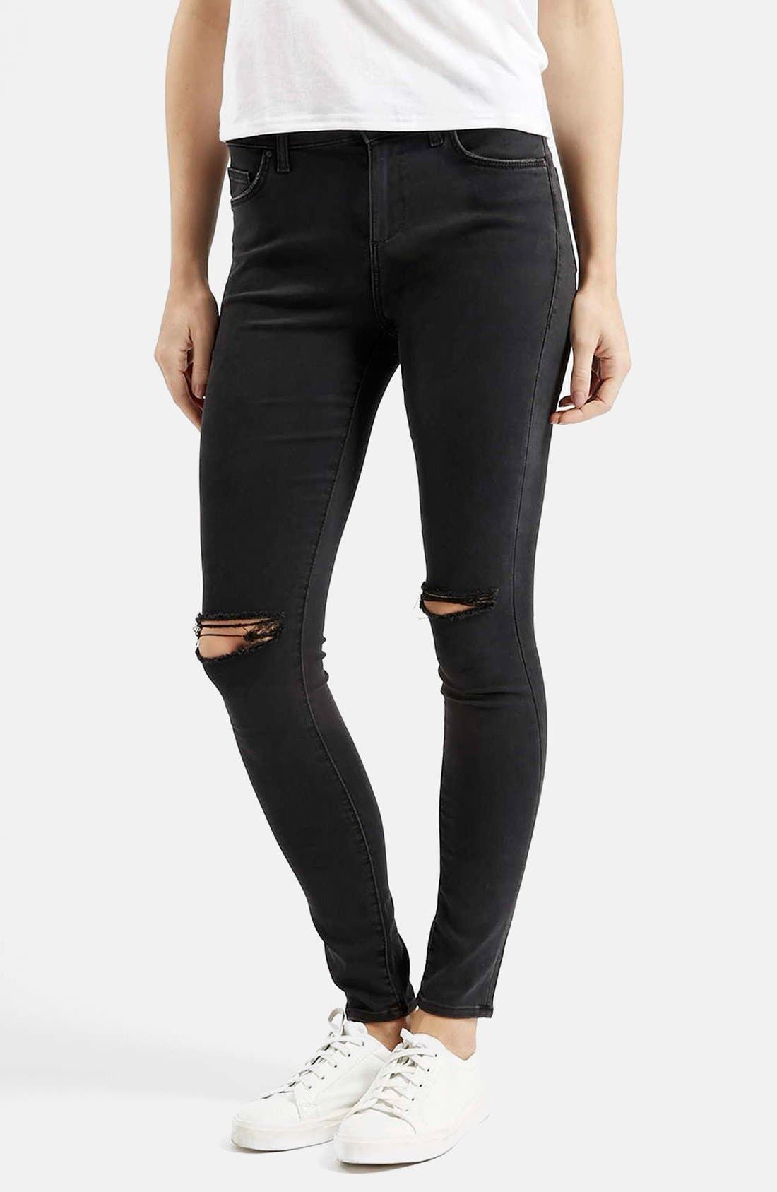 Moto 'Leigh' Ripped Skinny Jeans,                         Main,                         color, Black