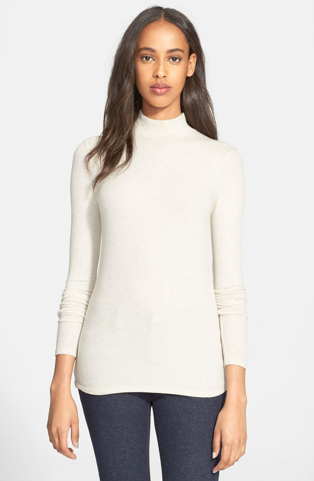 Rib Mock Neck Top,                         Main,                         color, Heather Oatmeal