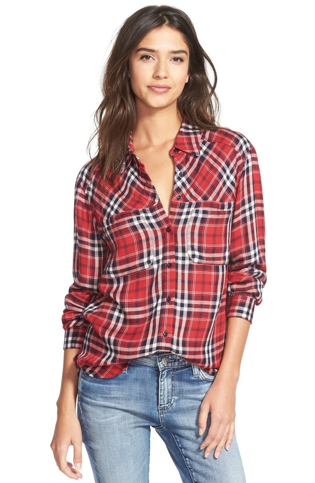 Alternate Image 1  - Ace Delivery Button Front Plaid Shirt