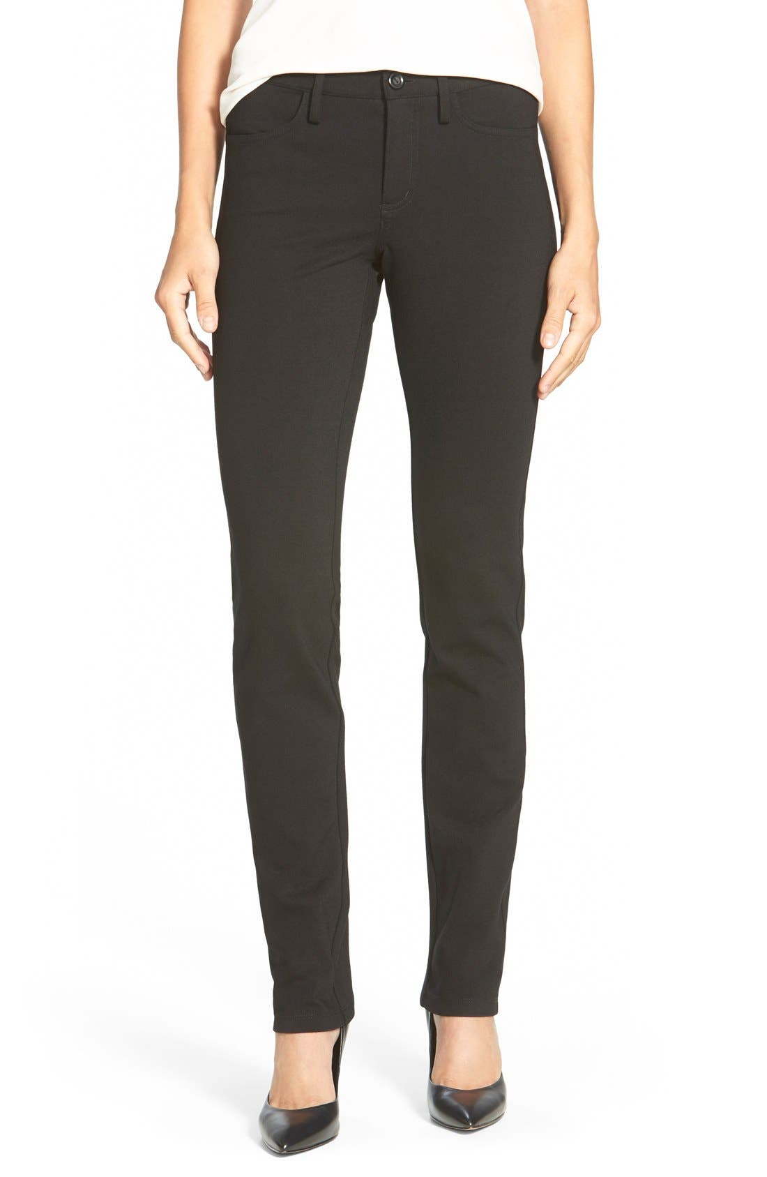 Alternate Image 1 Selected - NYDJ Five-Pocket Stretch Ponte Straight Leg Pants (Regular & Petite)