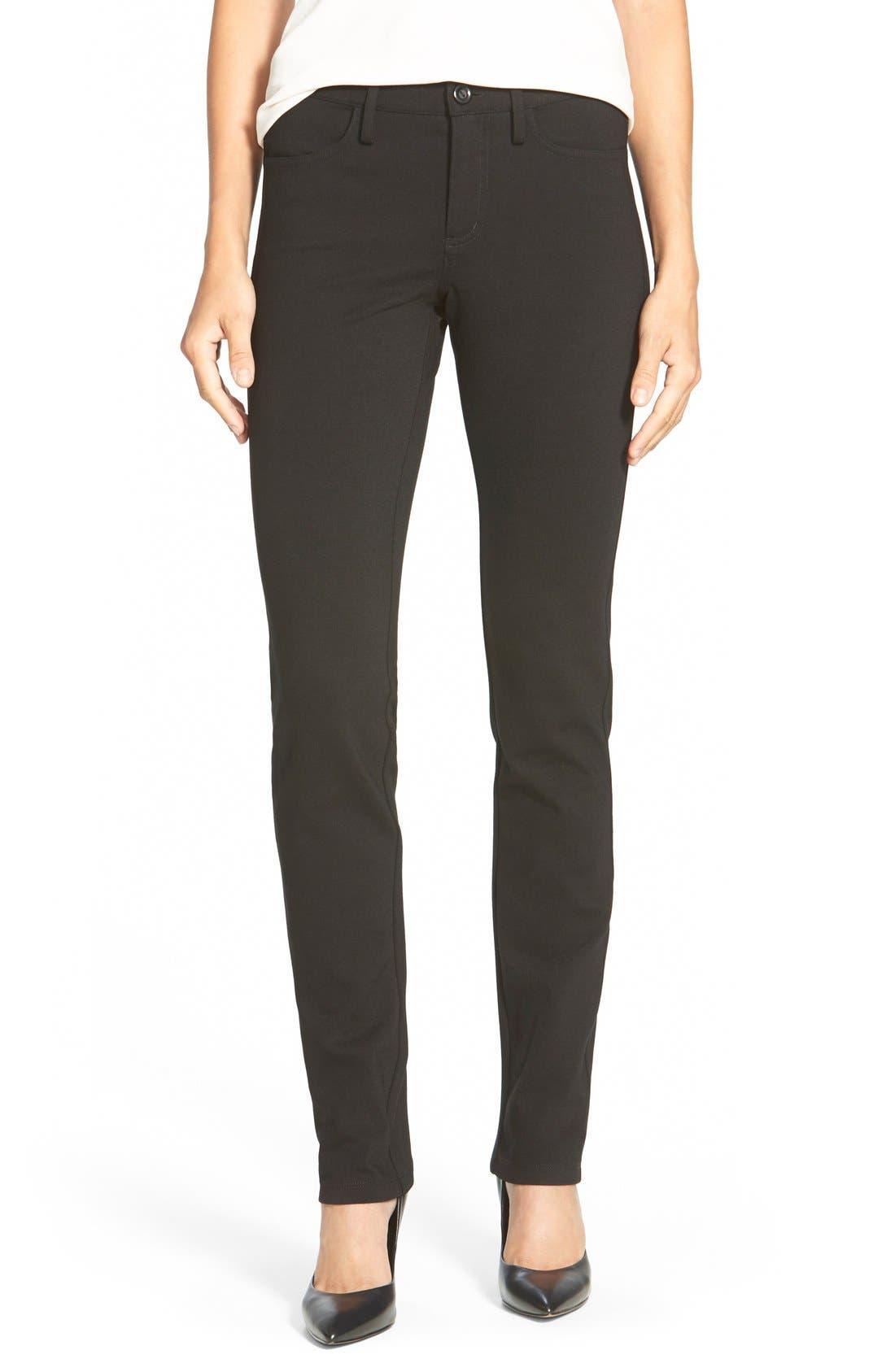 Five-Pocket Stretch Ponte Straight Leg Pants,                         Main,                         color, Black