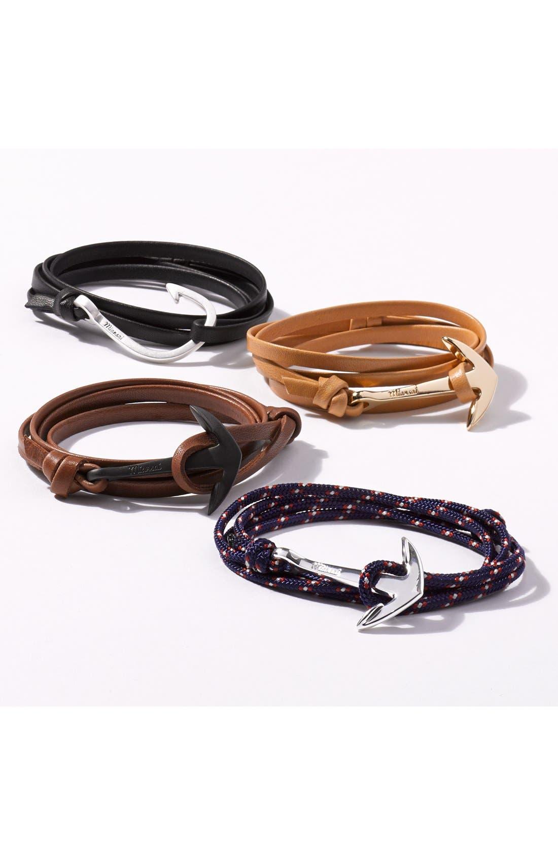 'Noir' Anchor Leather Bracelet,                             Alternate thumbnail 3, color,