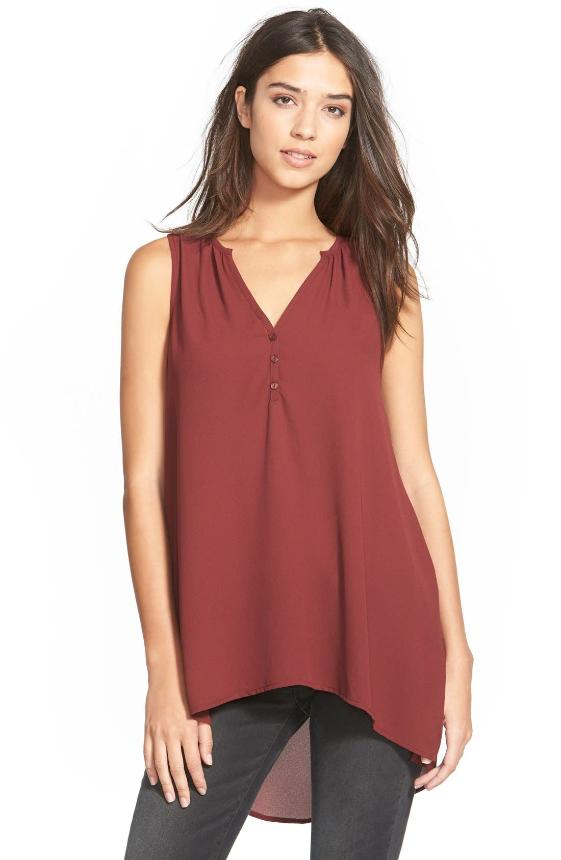 Sleeveless High/Low Tunic Top,                         Main,                         color, Red Mahogany