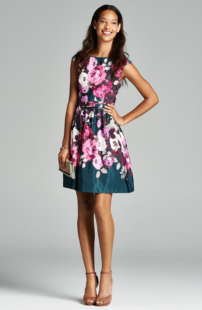 Eliza J Belted Floral Print Fit Amp Flare Dress Nordstrom