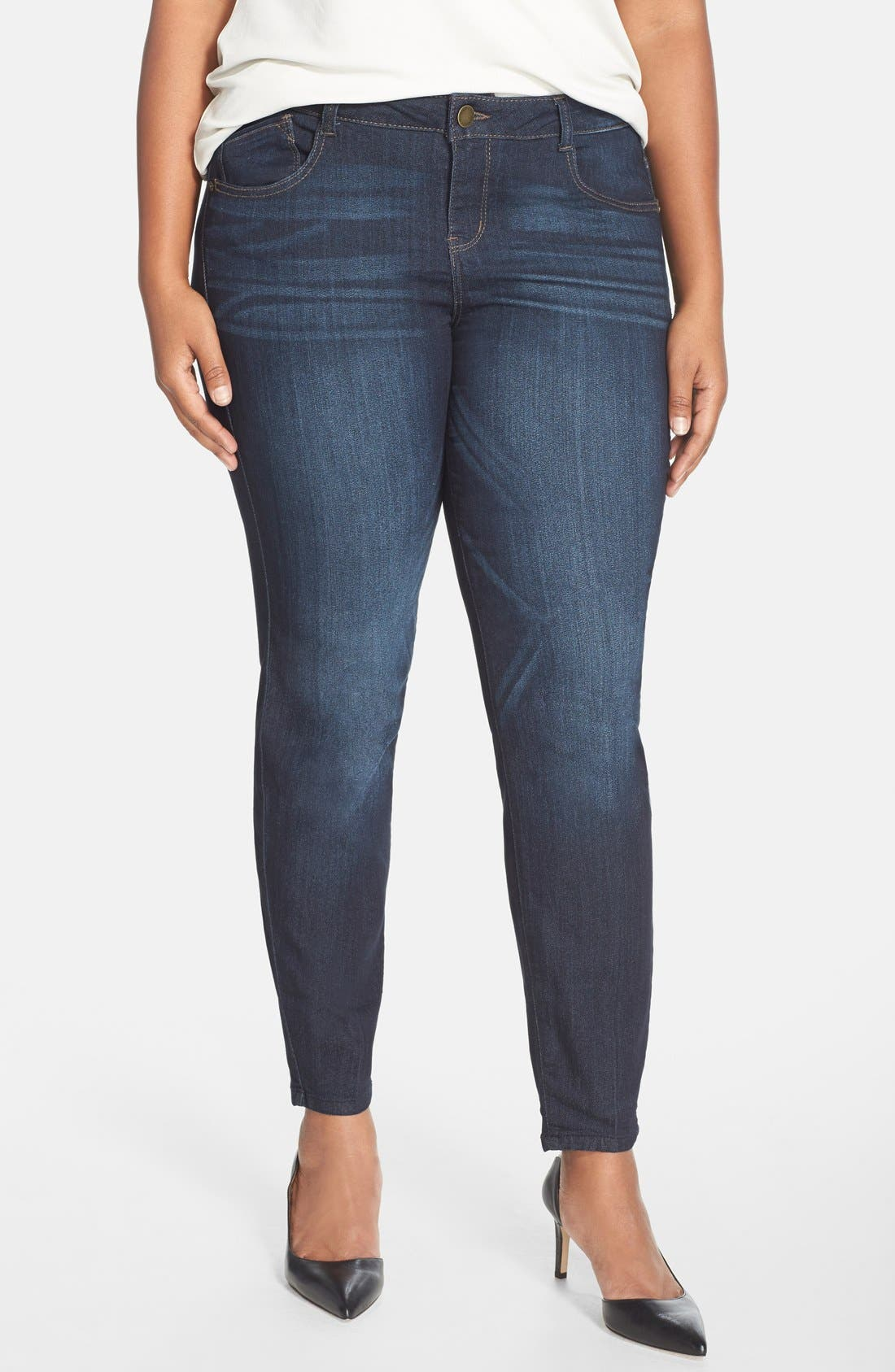 'Super Smooth' Stretch Skinny Jeans,                             Main thumbnail 1, color,                             Dark Navy