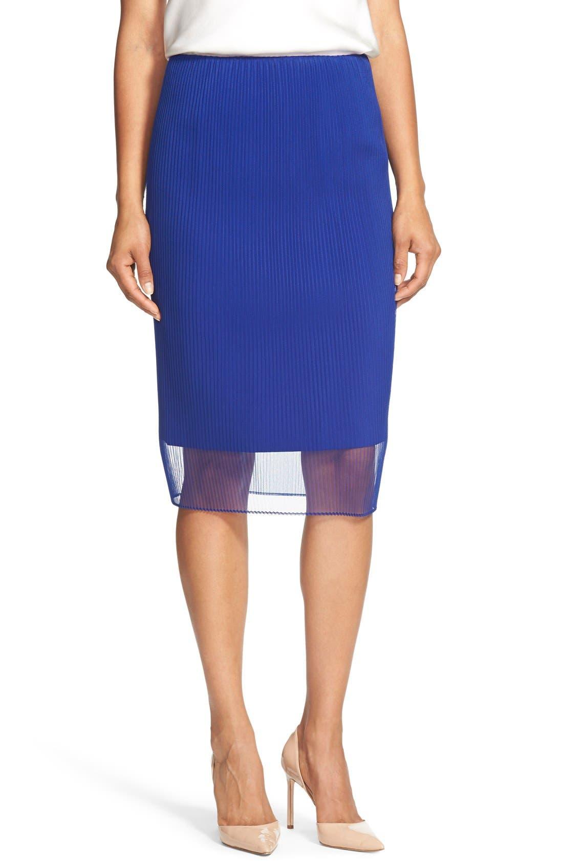 Main Image - BOSS 'Veplyti' Plissé Overlay Pencil Skirt