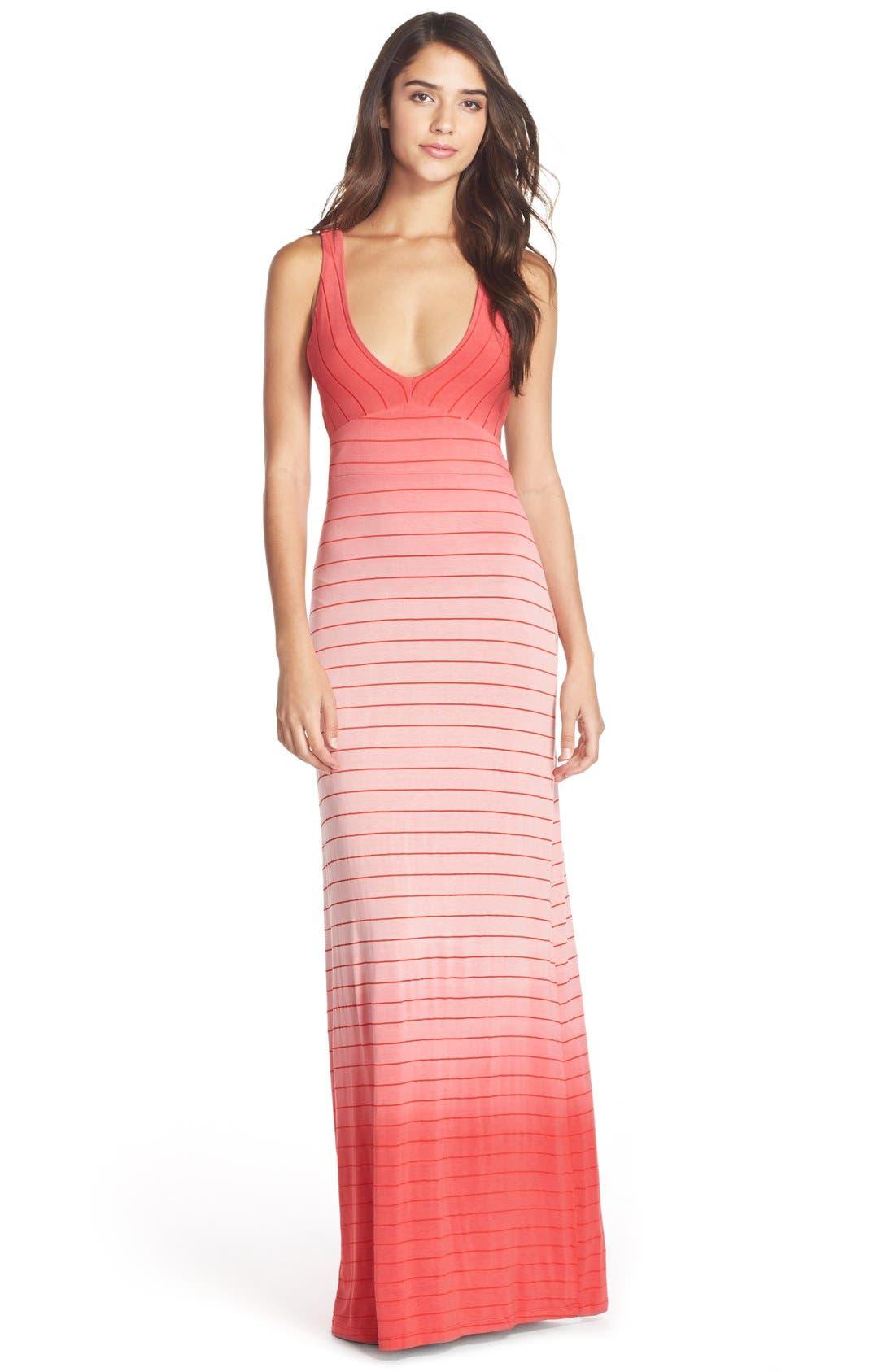 Main Image - Fraiche by J Ombré Tie Dye Jersey Maxi Dress