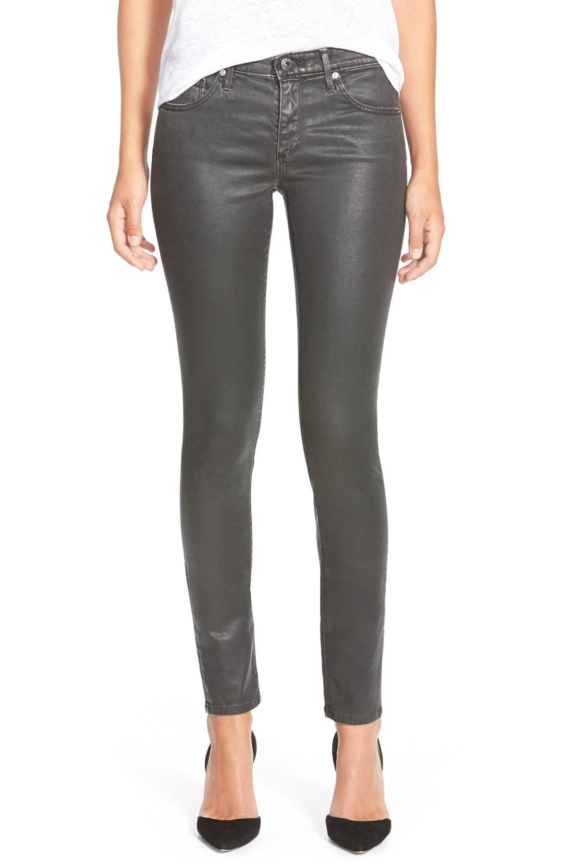 'The Legging' Coated Ankle Jeans,                         Main,                         color, Vintage Leatherette Black