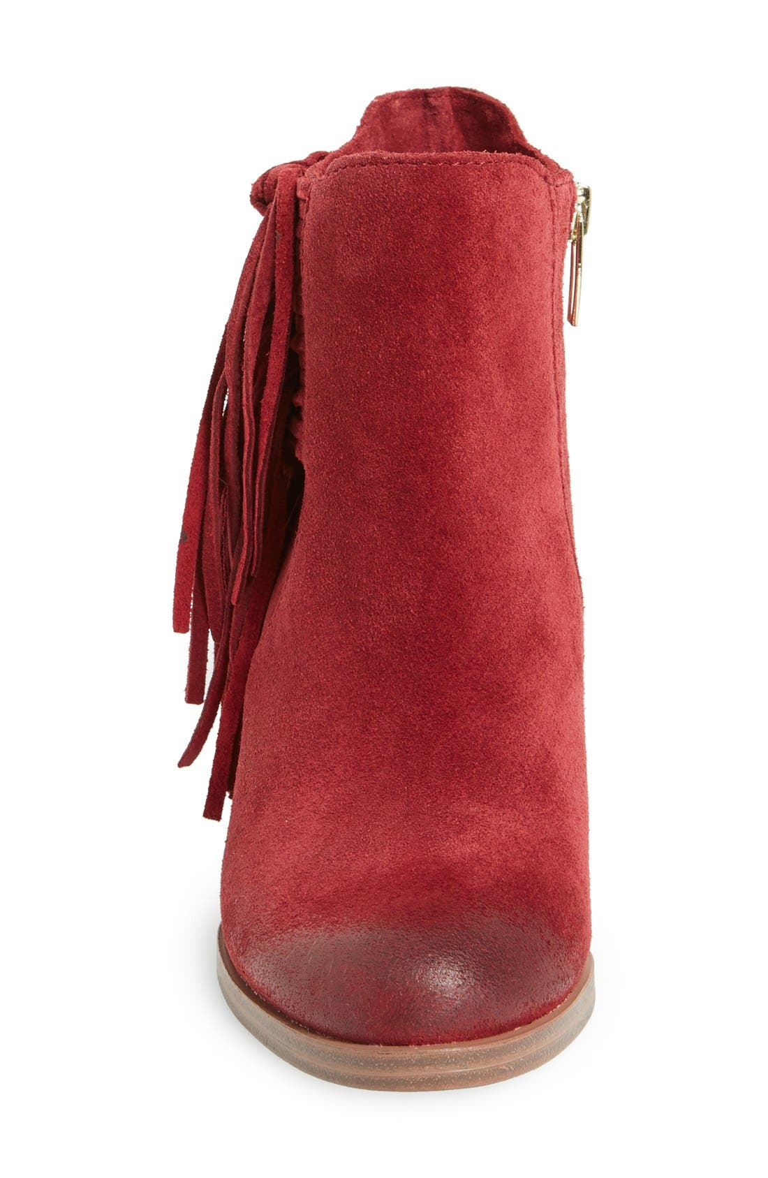 'Harlin' Fringe Bootie,                             Alternate thumbnail 3, color,                             Chianti Suede