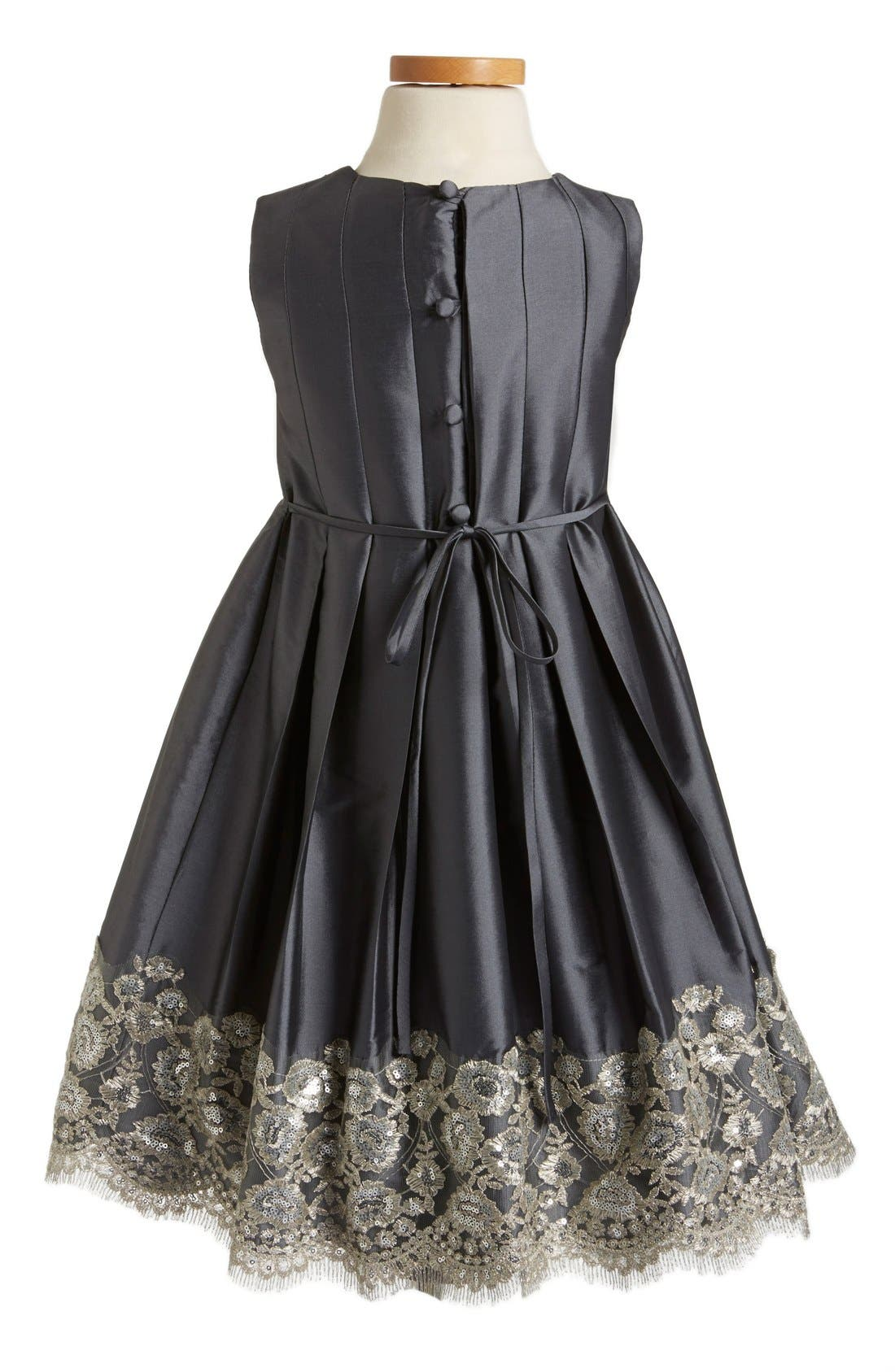 Floral Lace Pleated Dress,                             Alternate thumbnail 2, color,                             Charcoal Taffeta
