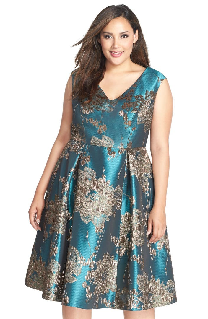 Adrianna Papell Metallic Jacquard Fit Amp Flare Midi Dress