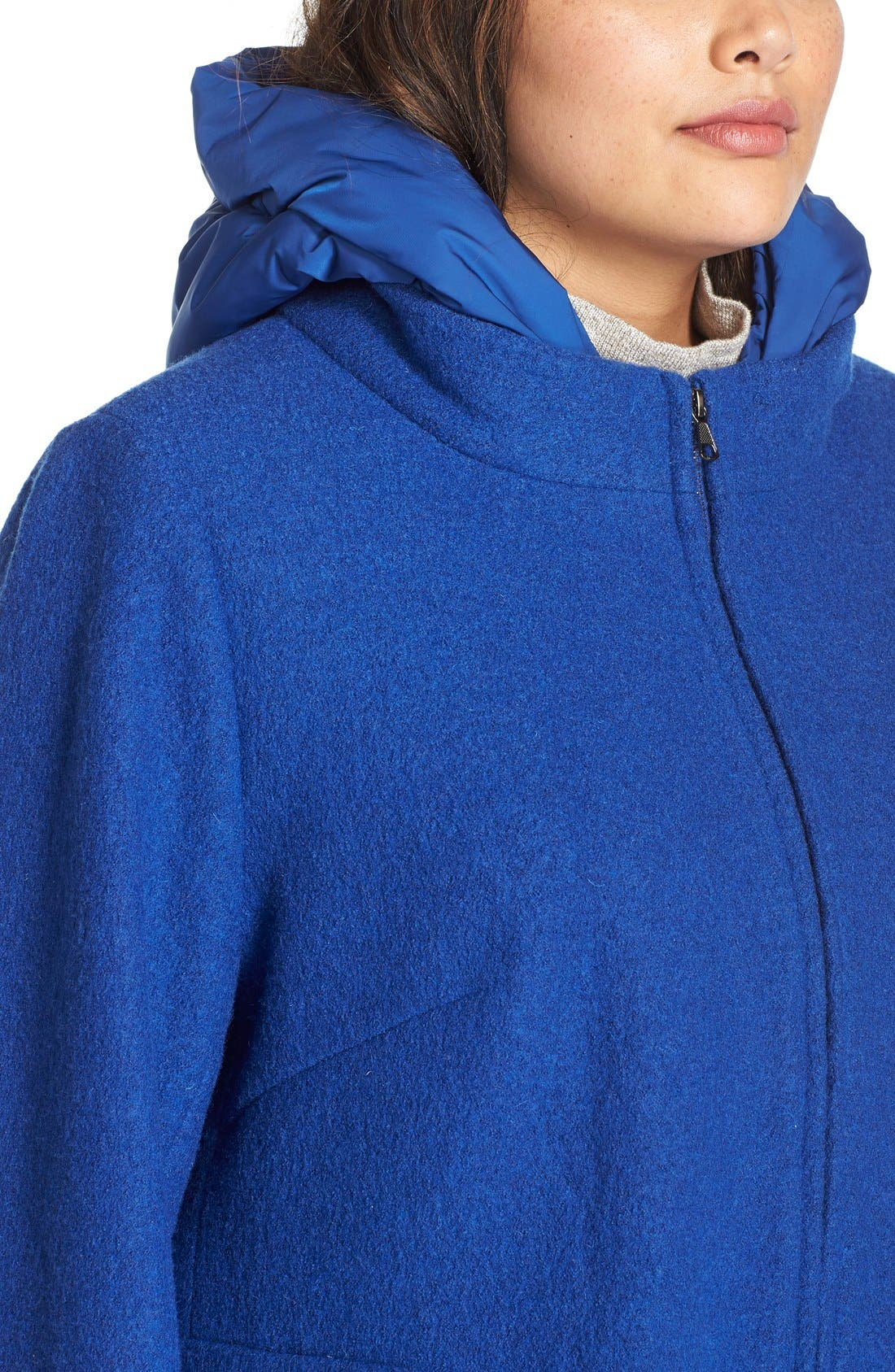 Hooded Boiled Wool Blend Swing Coat,                             Alternate thumbnail 5, color,                             Cobalt