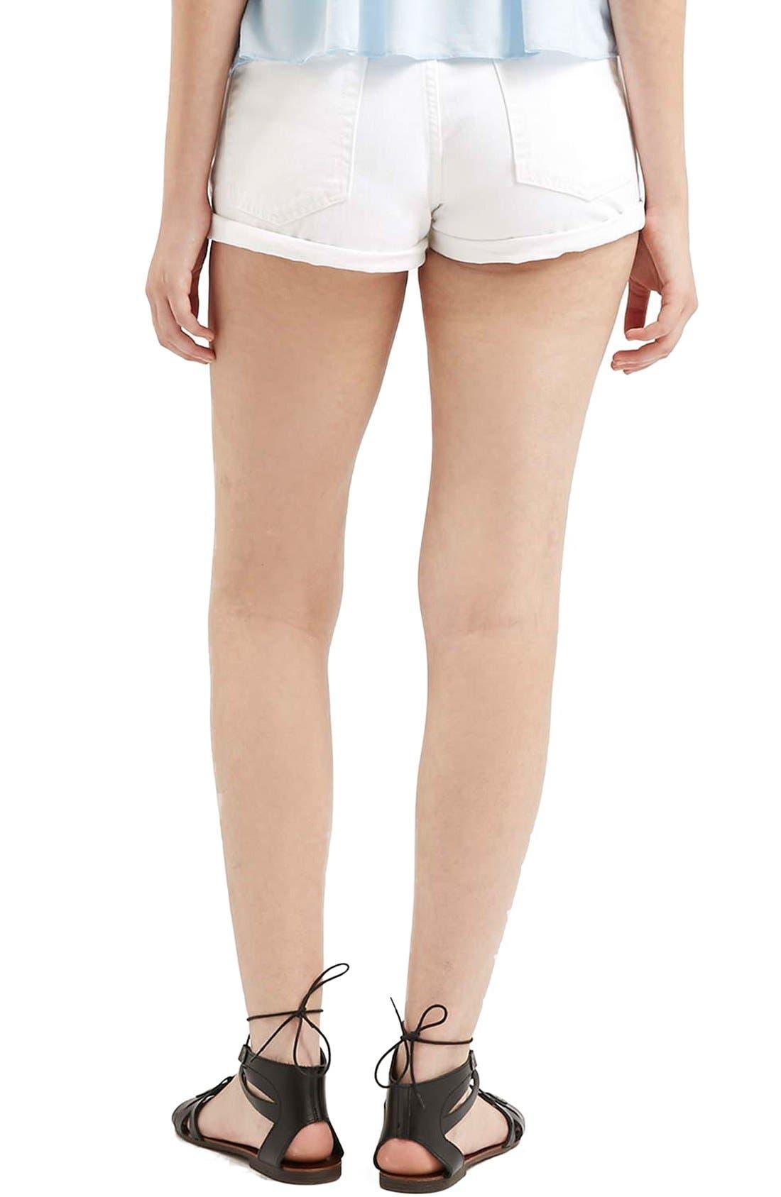 Alternate Image 3  - Topshop Moto 'Rosa' Ripped Denim Shorts (White)