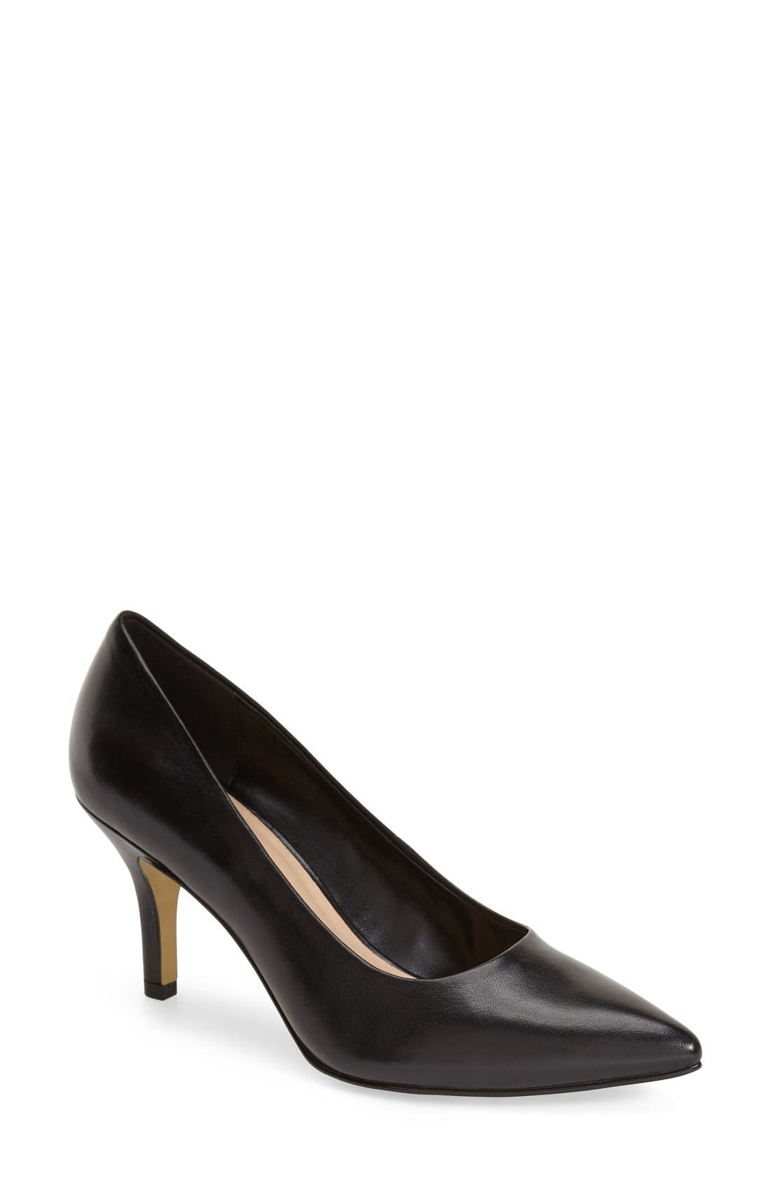 'Define' Pointy Toe Pump,                         Main,                         color, Black Leather