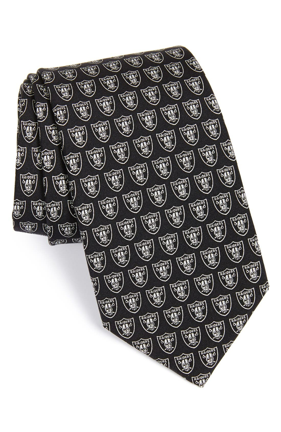 Oakland Raiders - NFL Woven Silk Tie,                             Main thumbnail 1, color,                             Black