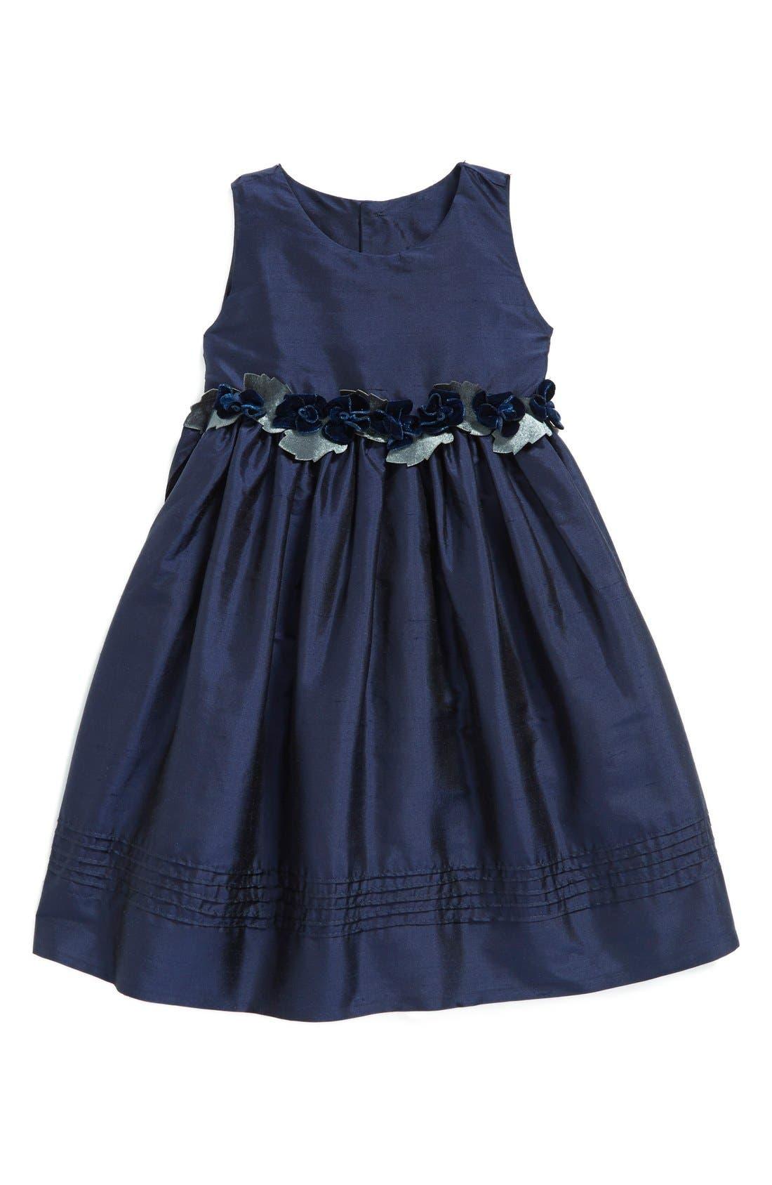 Silk Sleeveless A-Line Dress,                             Main thumbnail 1, color,                             Navy