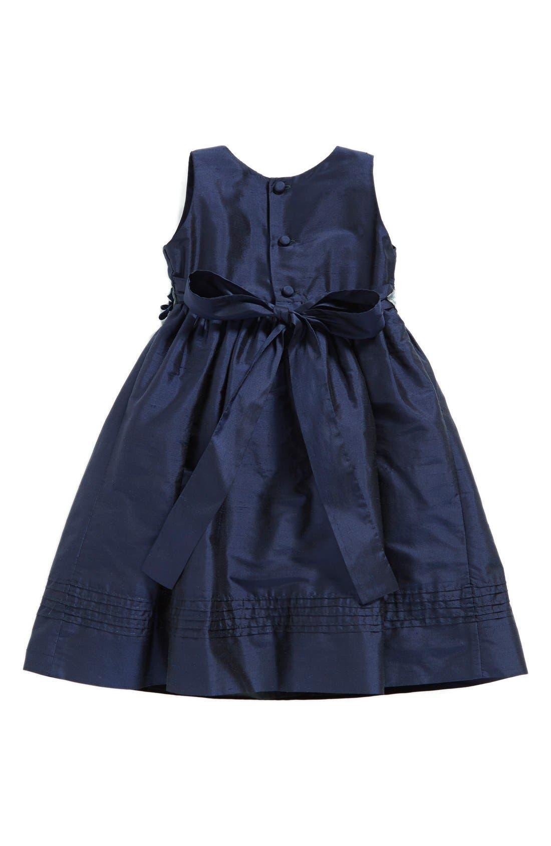 Silk Sleeveless A-Line Dress,                             Alternate thumbnail 2, color,                             Navy