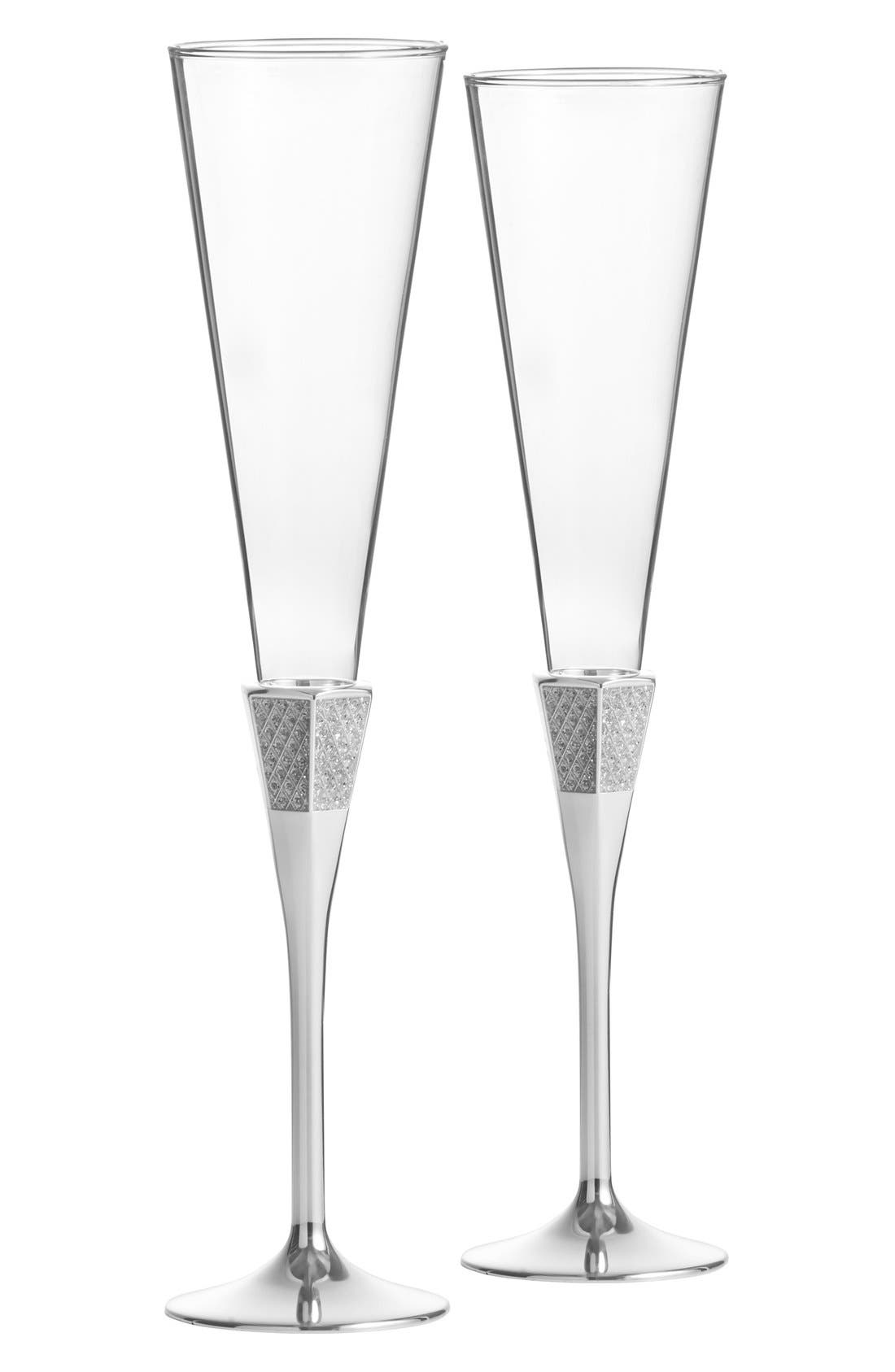 Waterford 'Lismore Diamond Silver' Lead Crystal Champagne Flutes (Set of 2)
