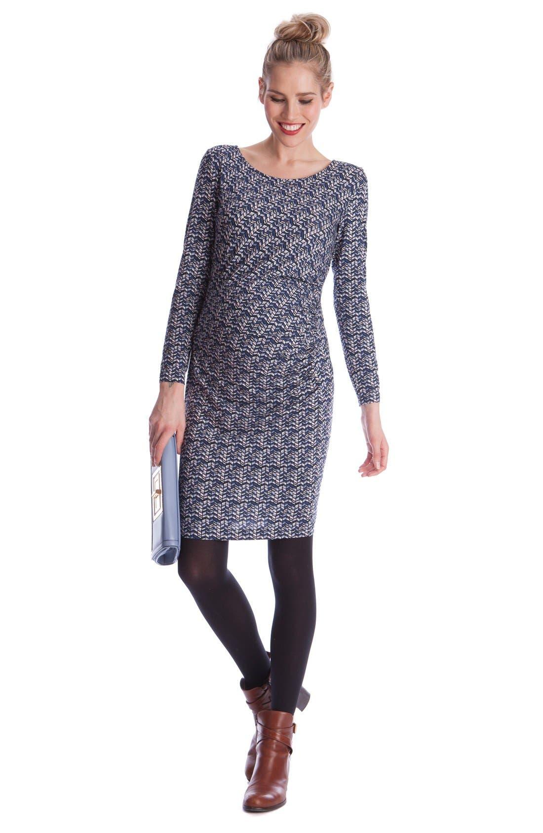 Seraphine 'Cassie' Ruched Chevron Print Maternity Dress