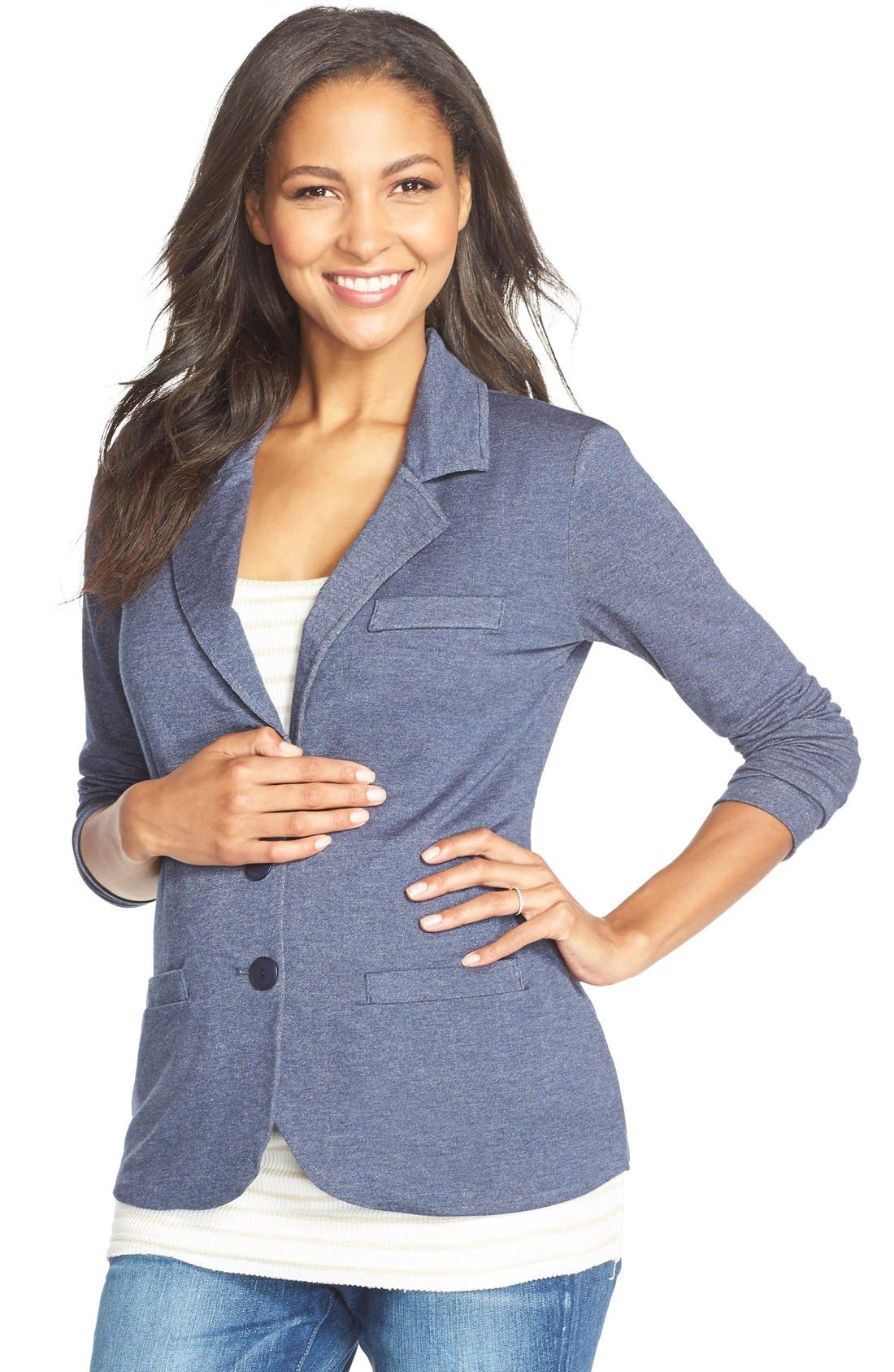 'Essential' Maternity Blazer,                             Main thumbnail 1, color,                             Blue Denim