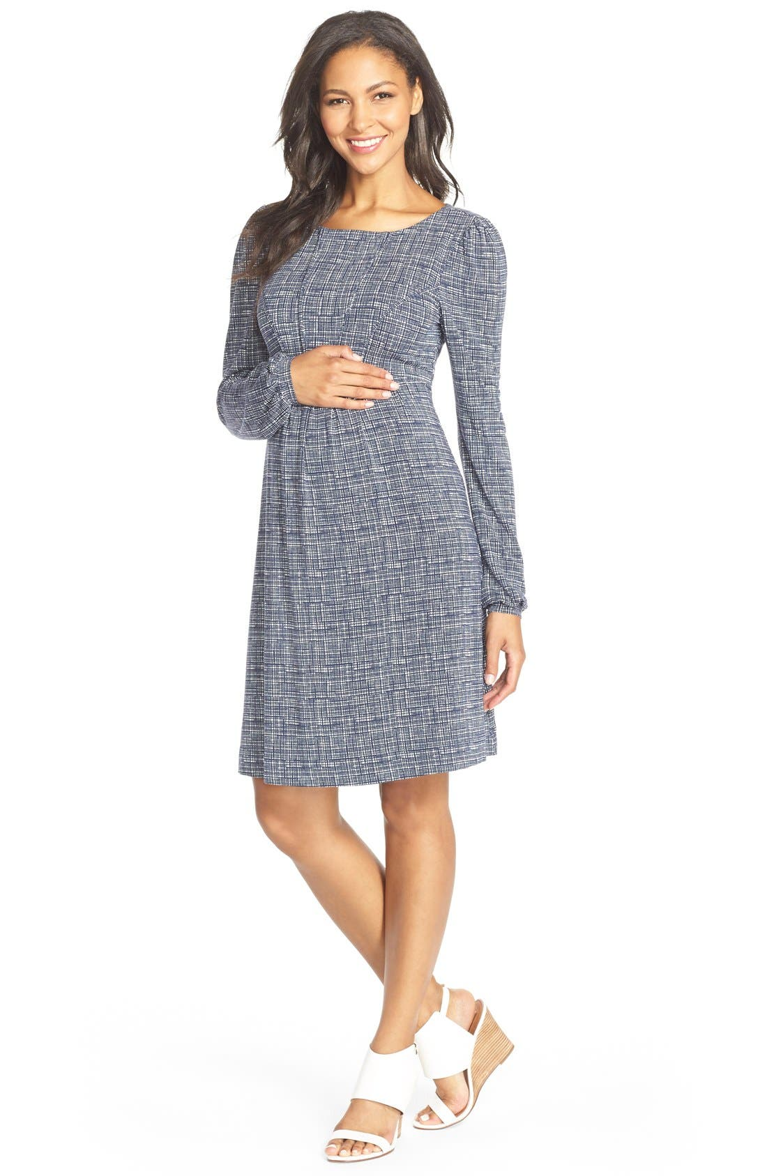 'Tatum' Geo Print Long Sleeve Maternity Dress,                         Main,                         color, Sketched Grid