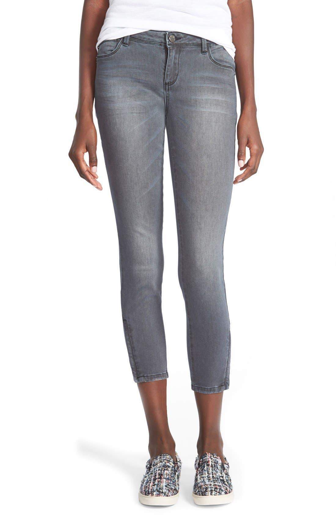 Alternate Image 1 Selected - HART Denim 'Brodie' Zip Hem Crop Skinny Jeans (Dark Grey)
