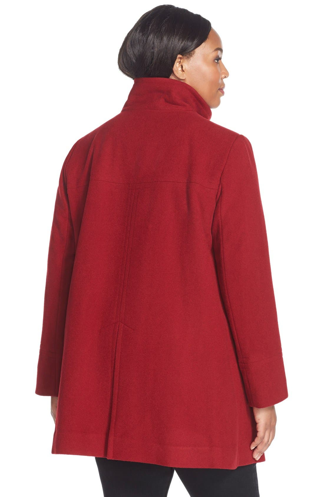 Alternate Image 2  - Larry Levine Wool Blend A-Line Babydoll Coat (Plus Size)