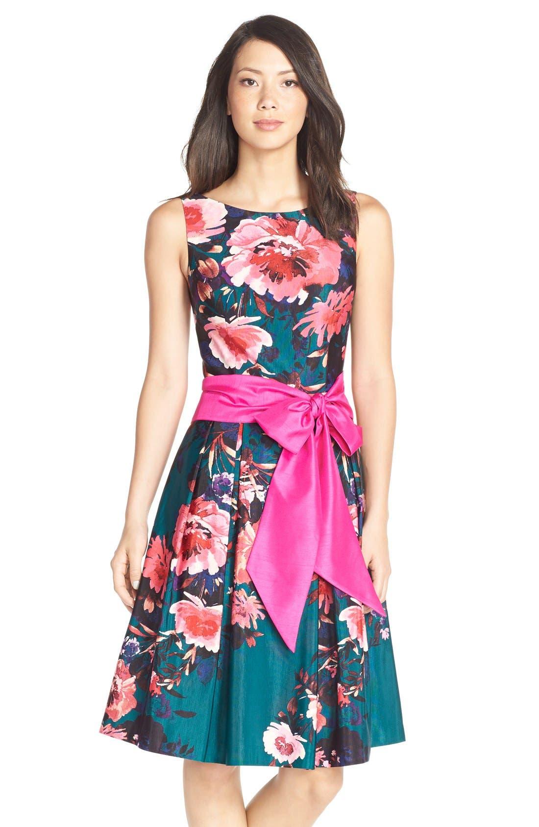 Main Image - Eliza JFloral Print Faille Fit & Flare Dress (Regular & Petite)