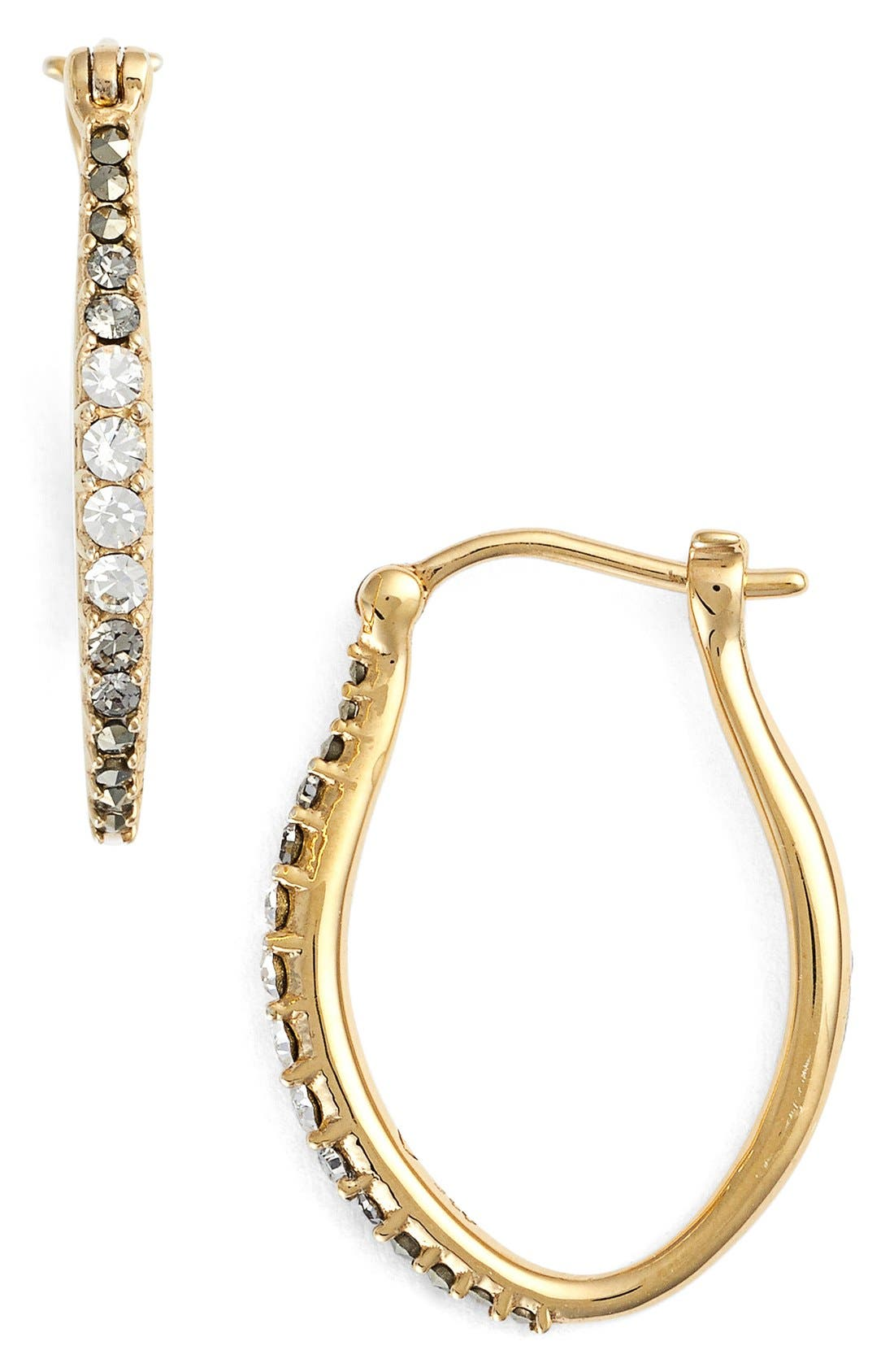 Marcasite & Swarovski Crystal Hoop Earrings,                             Main thumbnail 1, color,                             Gold
