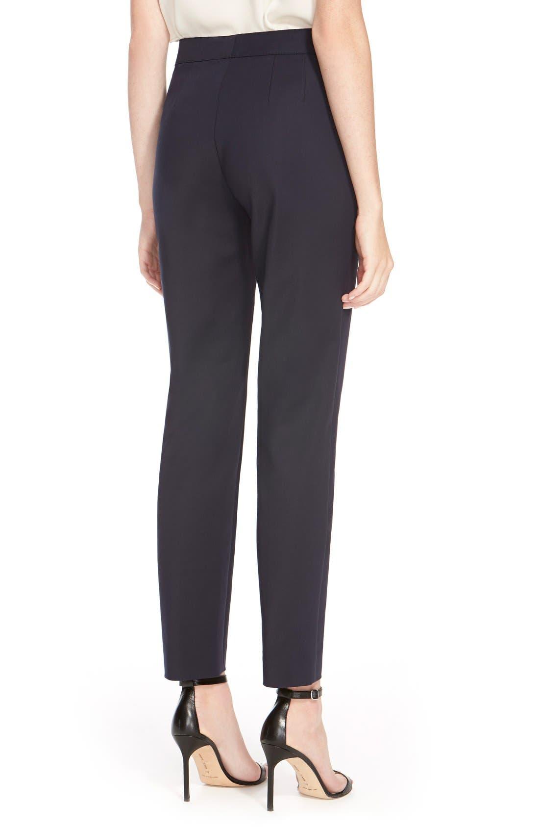 'Emma' Crop Micro Ottoman Pants,                             Alternate thumbnail 2, color,                             Navy